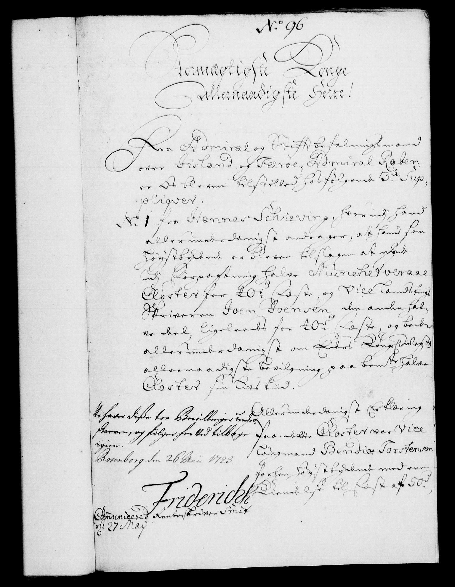 RA, Rentekammeret, Kammerkanselliet, G/Gf/Gfa/L0006: Norsk relasjons- og resolusjonsprotokoll (merket RK 52.6), 1723, s. 596