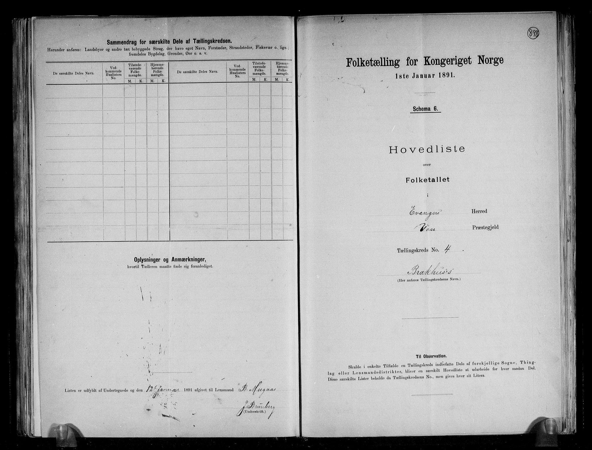 RA, Folketelling 1891 for 1237 Evanger herred, 1891, s. 11