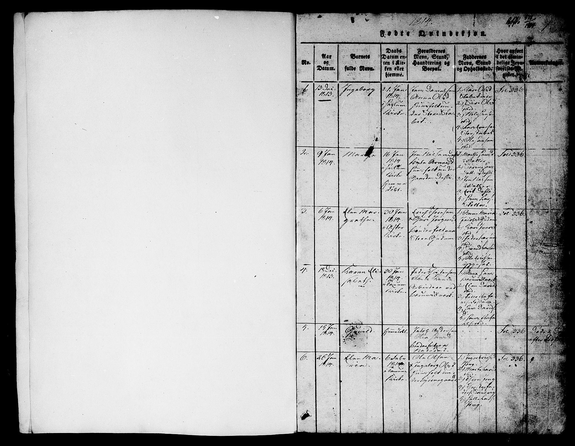 SAO, Asker prestekontor Kirkebøker, G/Ga/L0001: Klokkerbok nr. I 1, 1814-1830, s. 1