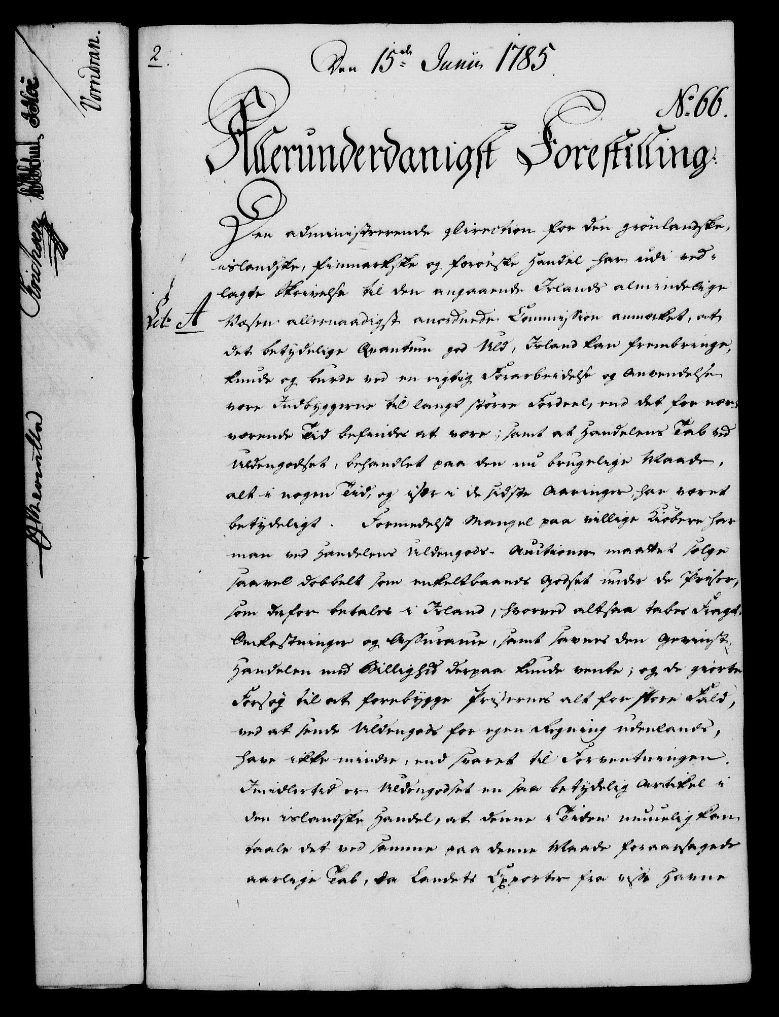 RA, Rentekammeret, Kammerkanselliet, G/Gf/Gfa/L0067: Norsk relasjons- og resolusjonsprotokoll (merket RK 52.67), 1785, s. 537