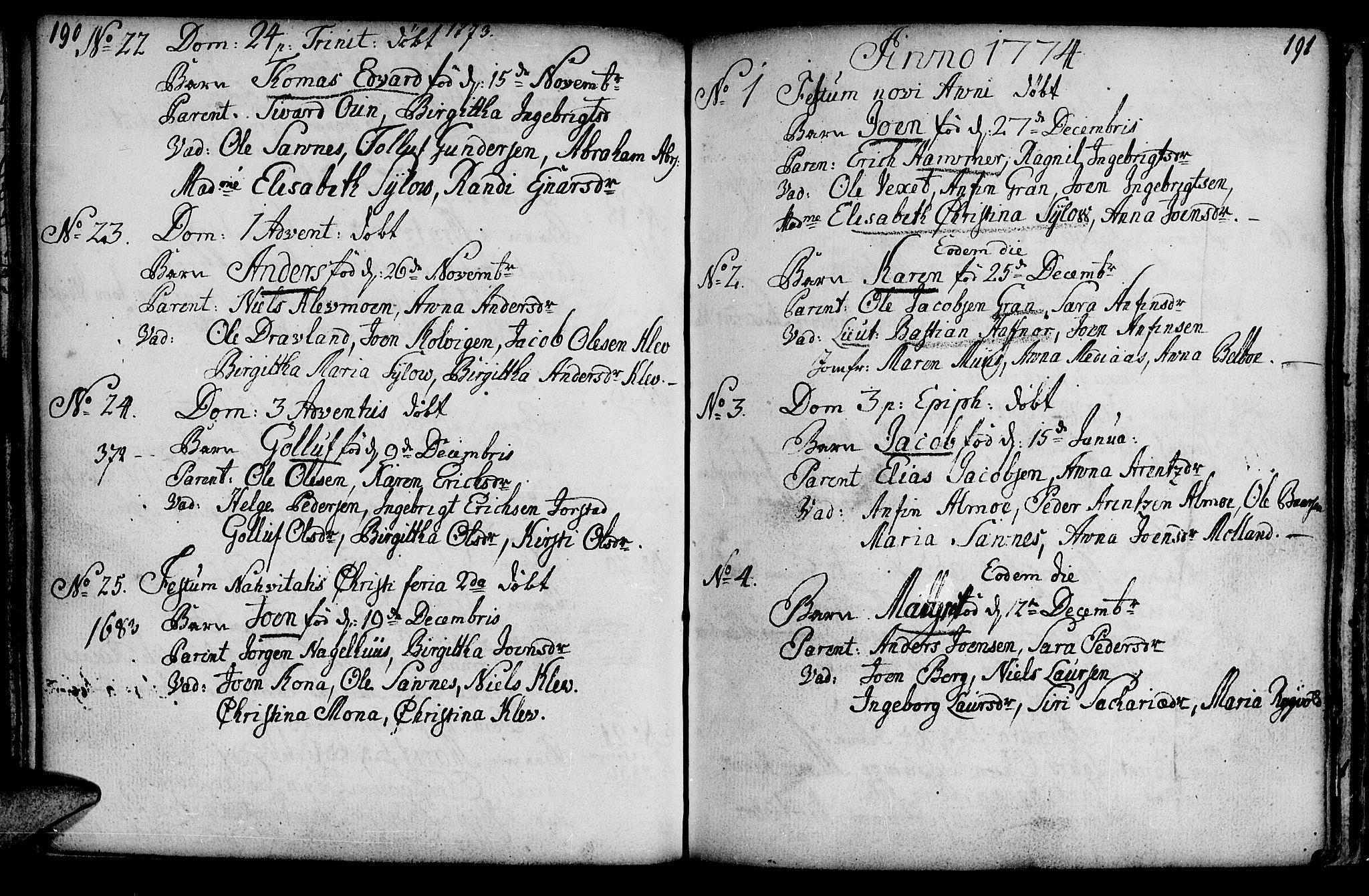 SAT, Ministerialprotokoller, klokkerbøker og fødselsregistre - Nord-Trøndelag, 749/L0467: Ministerialbok nr. 749A01, 1733-1787, s. 190-191