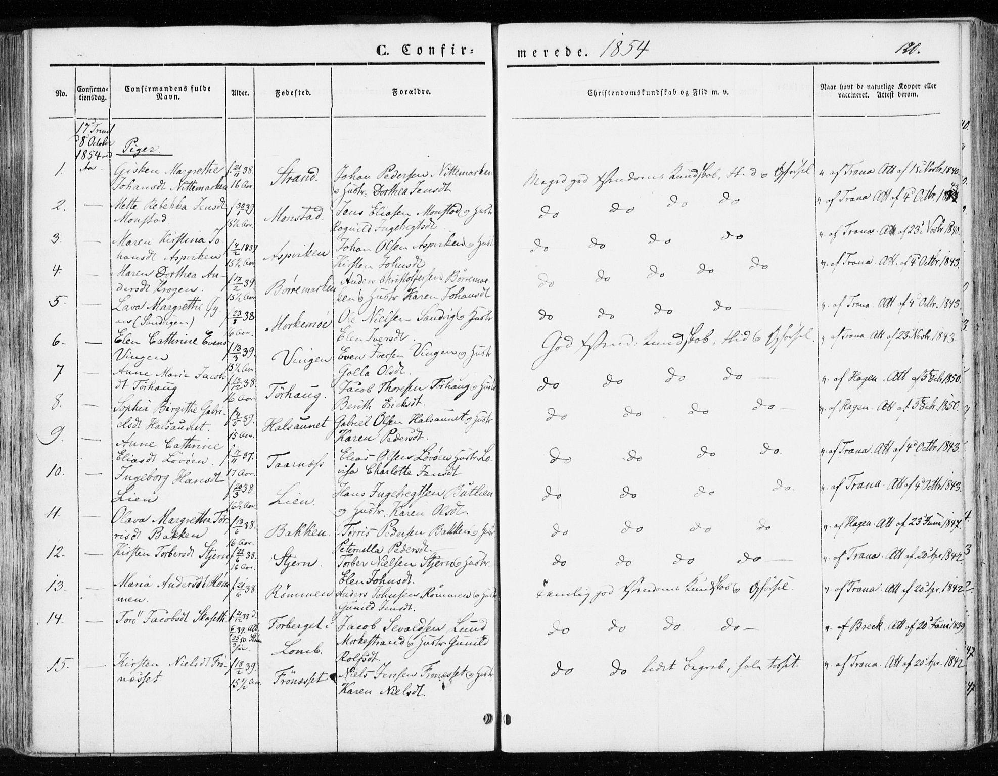 SAT, Ministerialprotokoller, klokkerbøker og fødselsregistre - Sør-Trøndelag, 655/L0677: Ministerialbok nr. 655A06, 1847-1860, s. 120