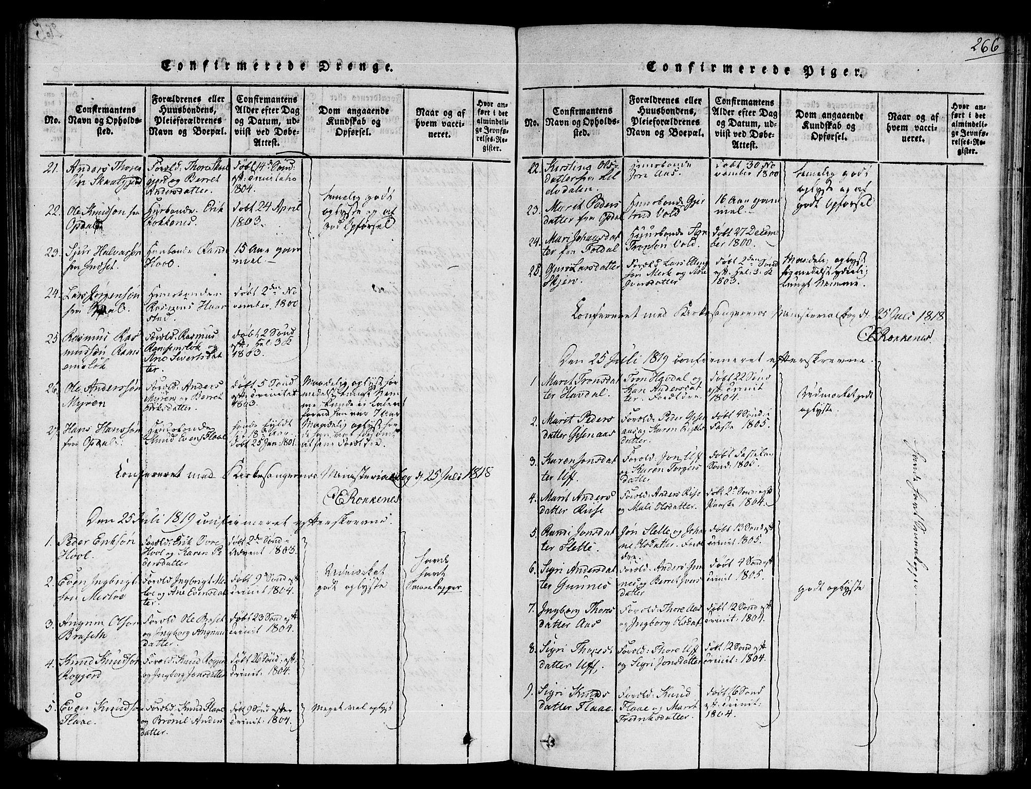 SAT, Ministerialprotokoller, klokkerbøker og fødselsregistre - Sør-Trøndelag, 672/L0854: Ministerialbok nr. 672A06 /2, 1816-1829, s. 266