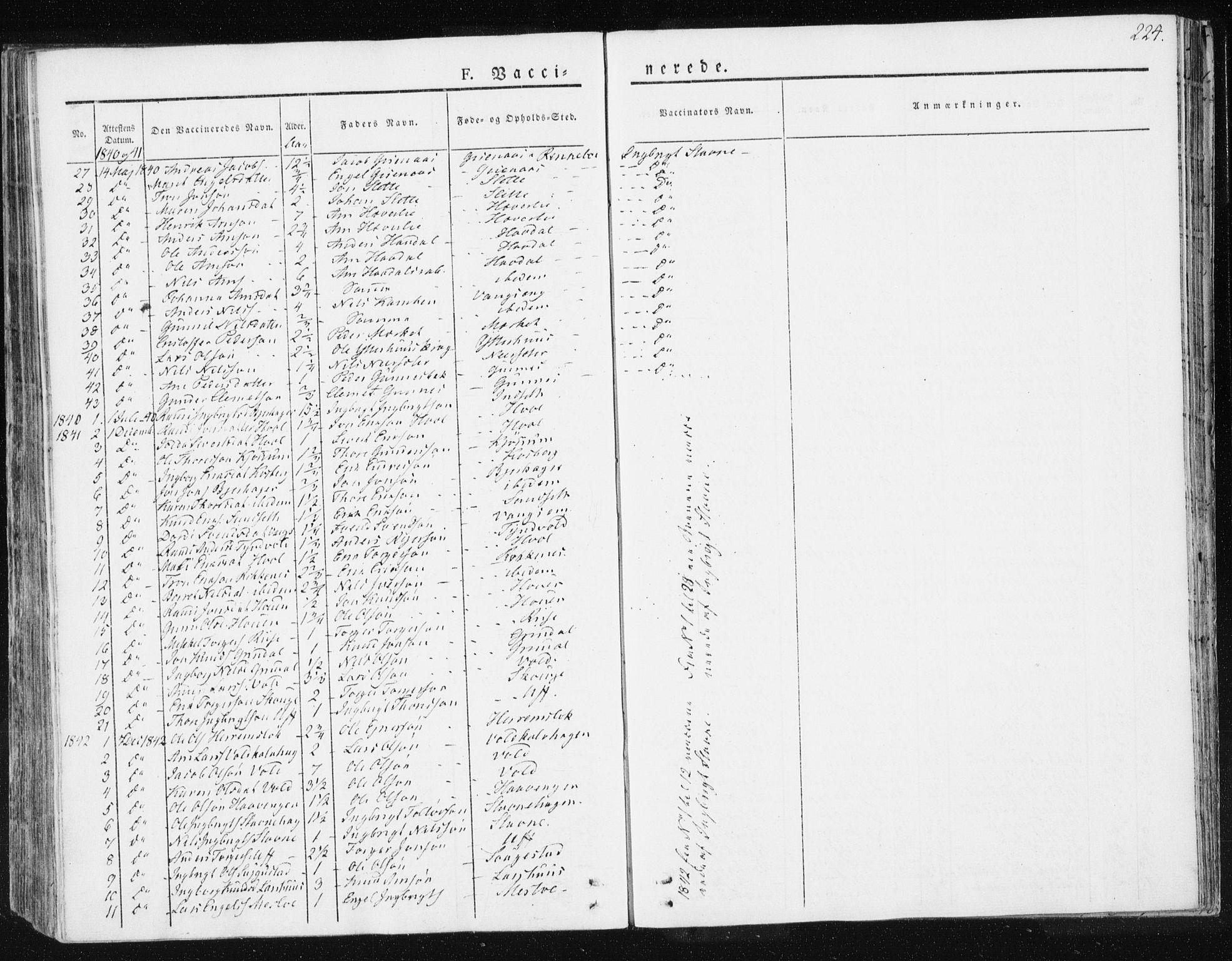 SAT, Ministerialprotokoller, klokkerbøker og fødselsregistre - Sør-Trøndelag, 674/L0869: Ministerialbok nr. 674A01, 1829-1860, s. 224