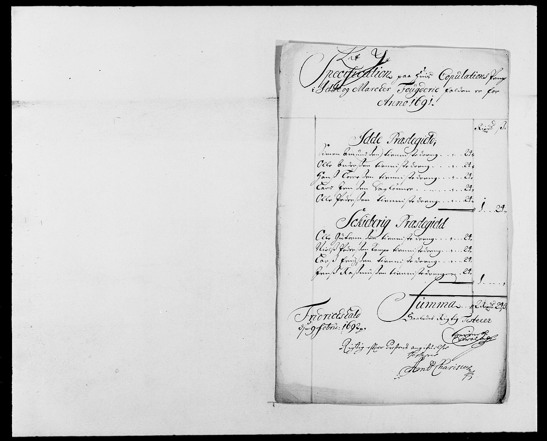 RA, Rentekammeret inntil 1814, Reviderte regnskaper, Fogderegnskap, R01/L0010: Fogderegnskap Idd og Marker, 1690-1691, s. 416