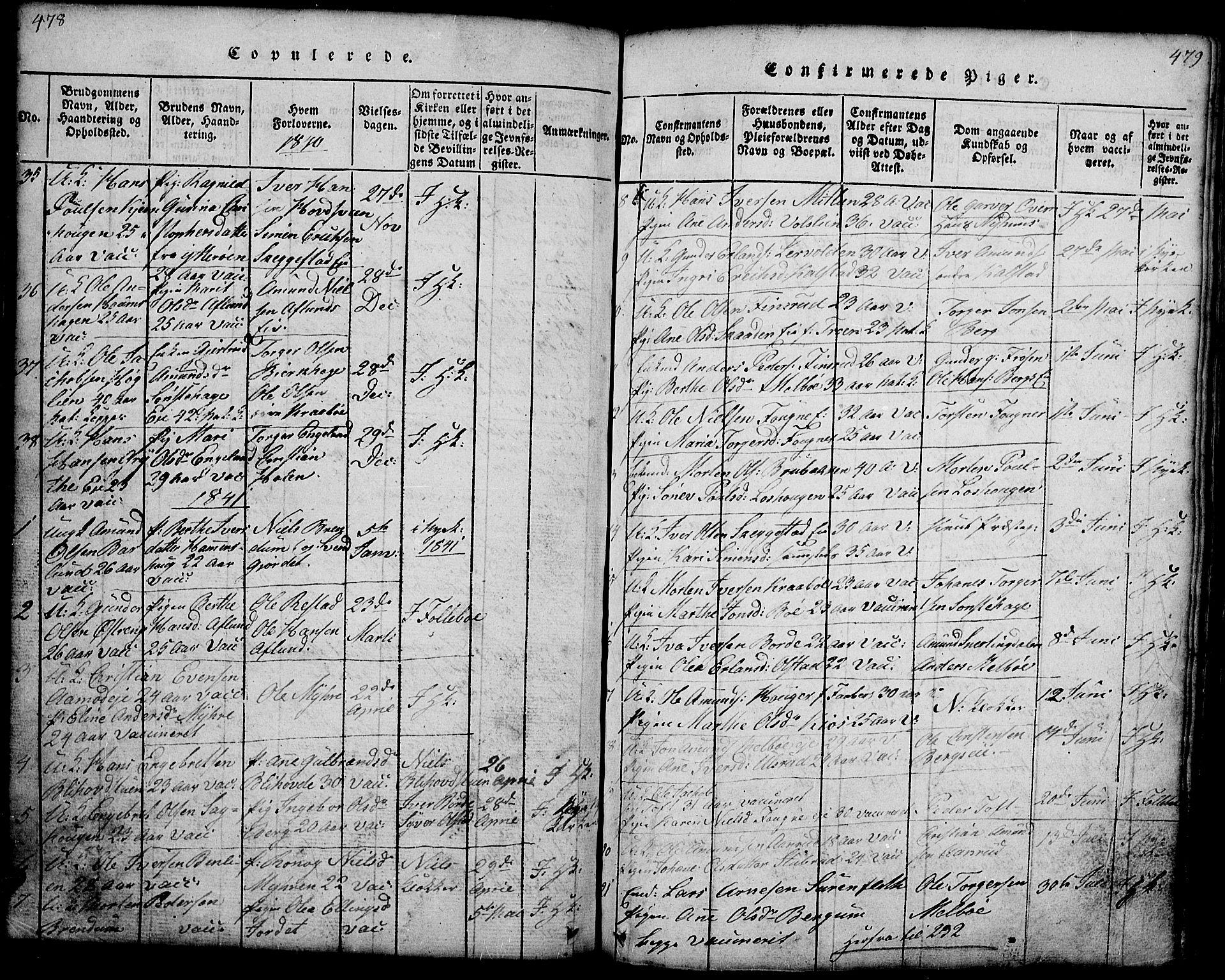 SAH, Gausdal prestekontor, Klokkerbok nr. 1, 1817-1848, s. 478-479