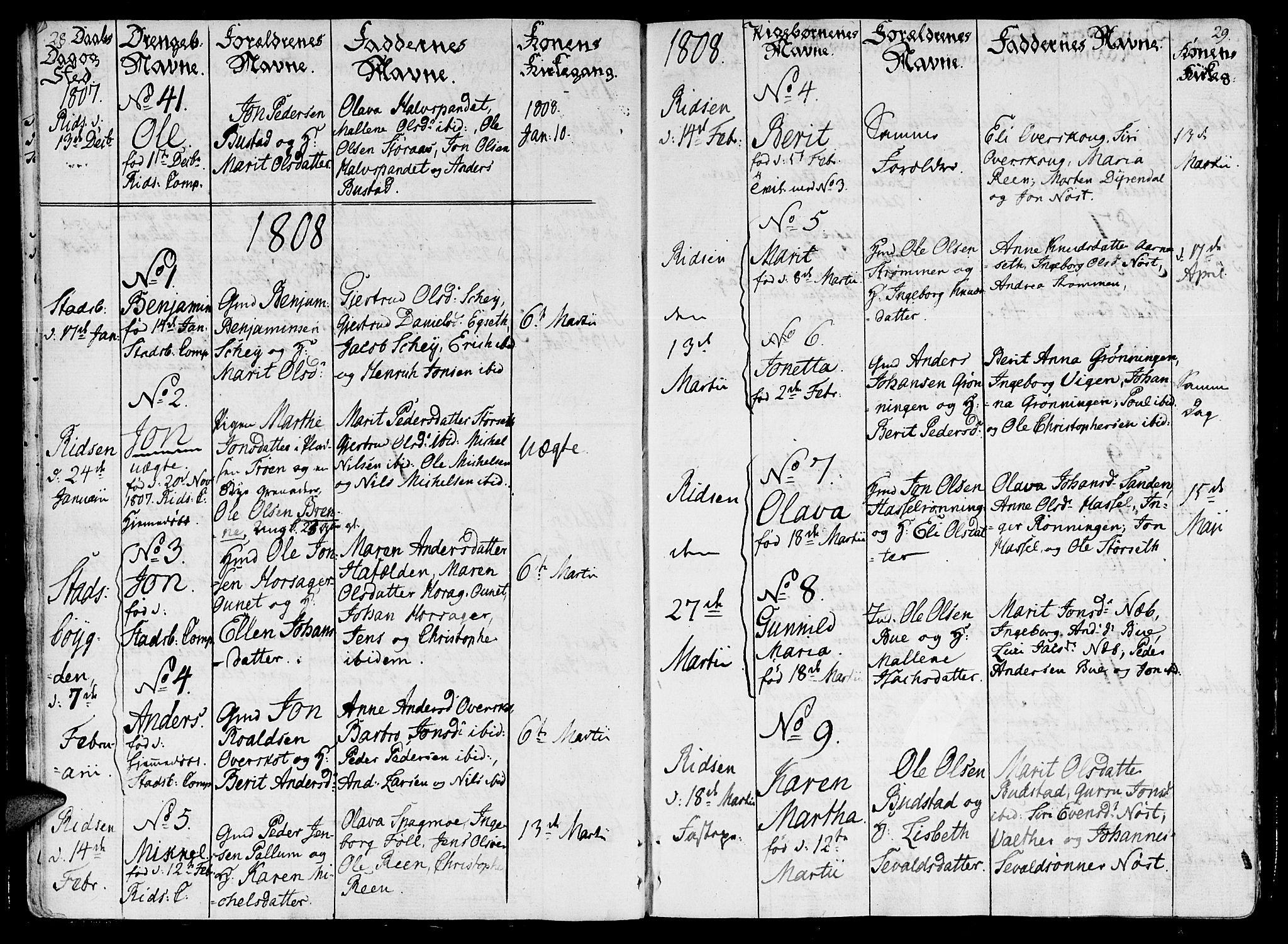 SAT, Ministerialprotokoller, klokkerbøker og fødselsregistre - Sør-Trøndelag, 646/L0607: Ministerialbok nr. 646A05, 1806-1815, s. 28-29