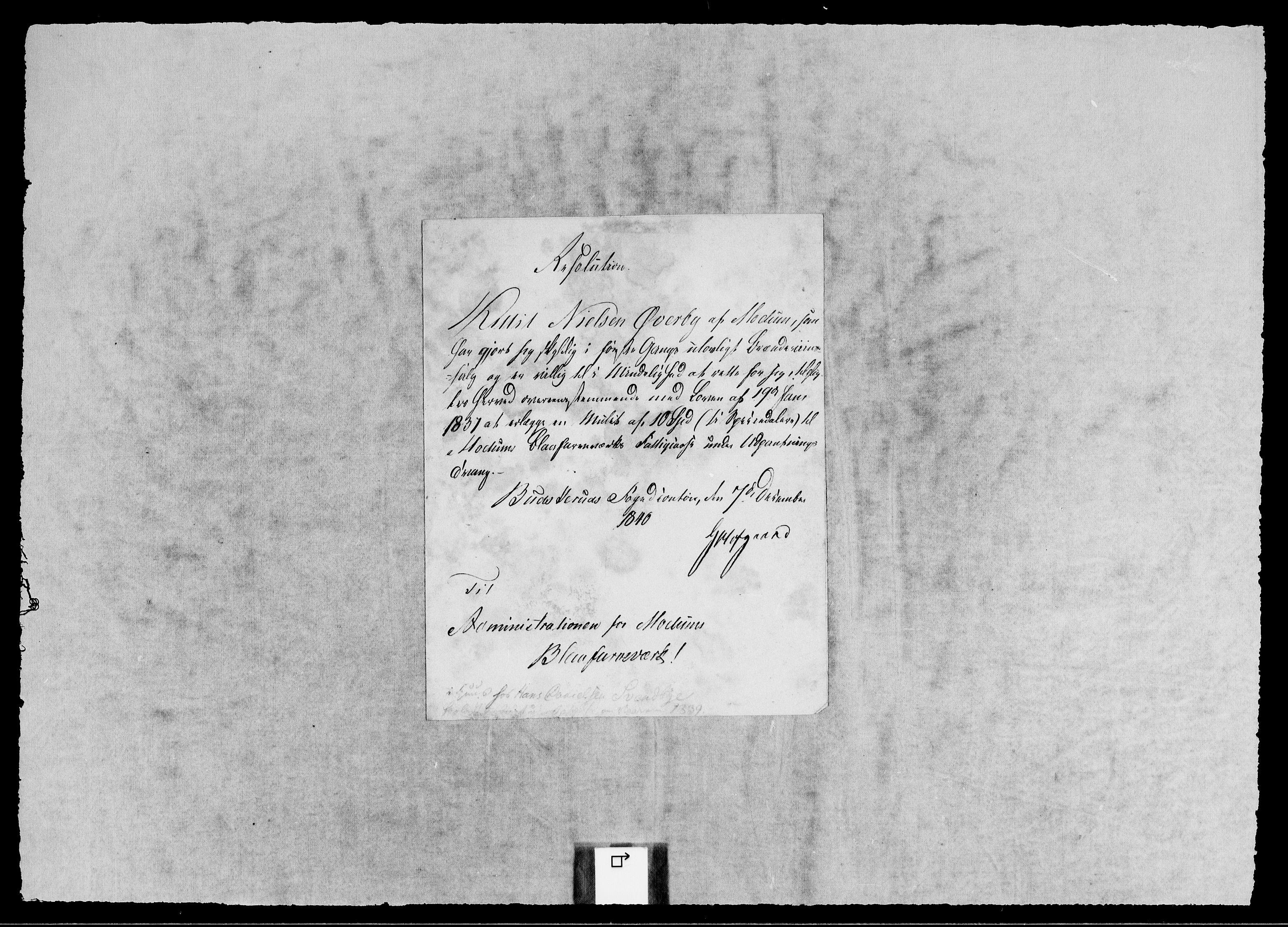 RA, Modums Blaafarveværk, G/Gb/L0124, 1839-1840, s. 2