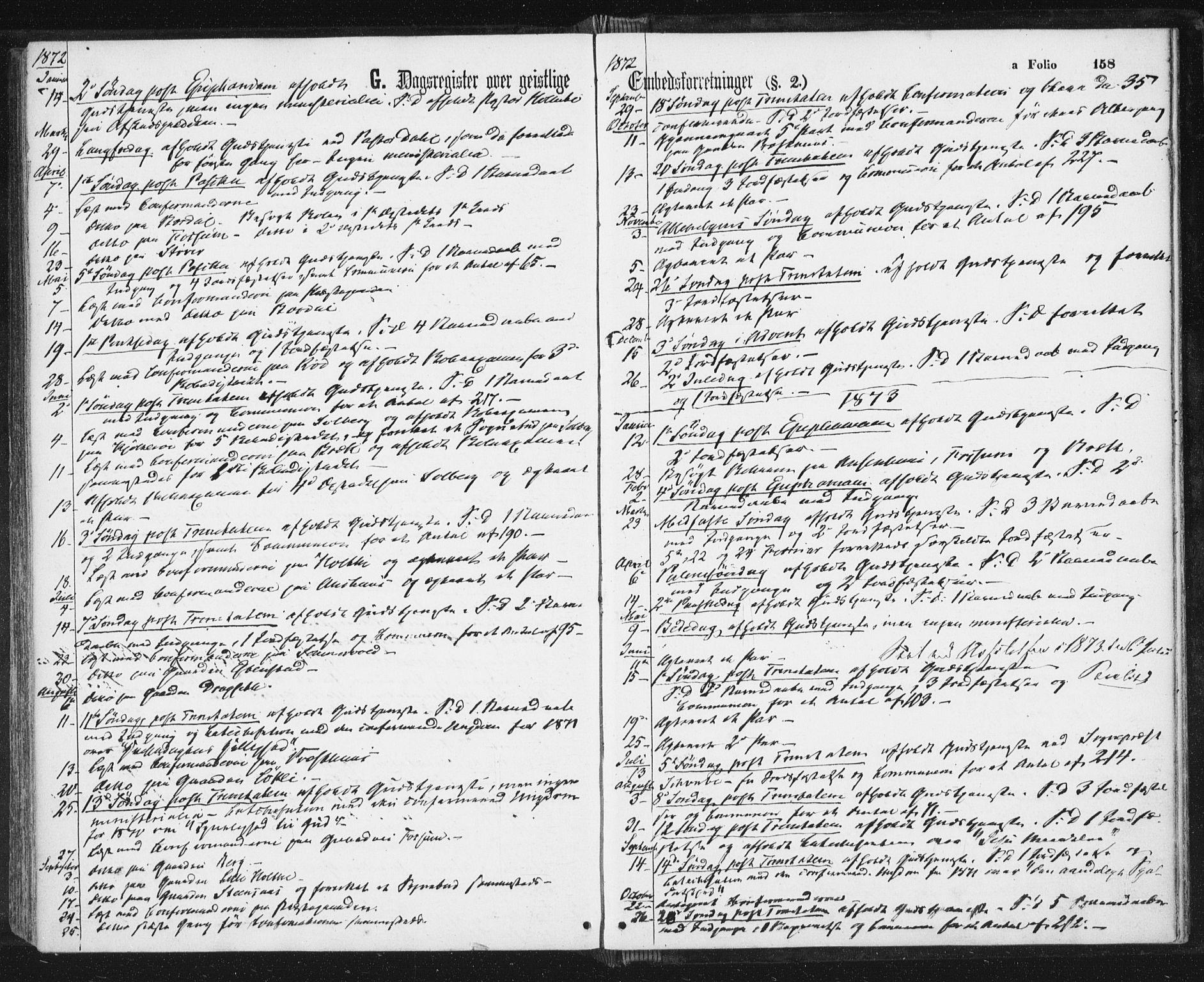SAT, Ministerialprotokoller, klokkerbøker og fødselsregistre - Sør-Trøndelag, 689/L1039: Ministerialbok nr. 689A04, 1865-1878, s. 158