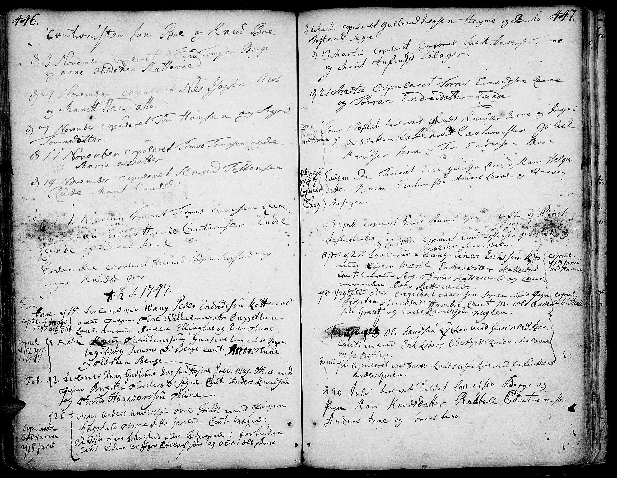 SAH, Vang prestekontor, Valdres, Ministerialbok nr. 1, 1730-1796, s. 446-447