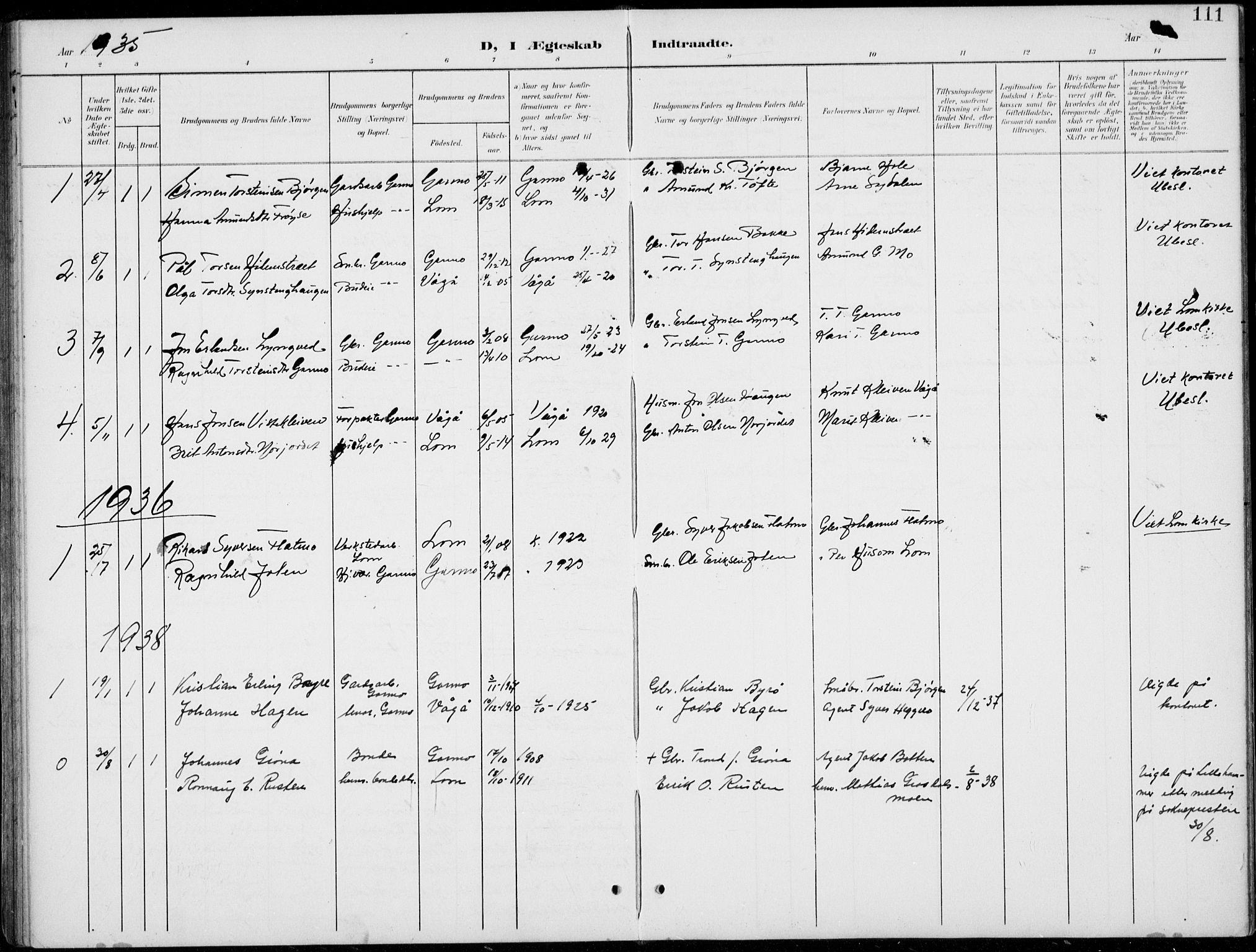 SAH, Lom prestekontor, L/L0006: Klokkerbok nr. 6, 1901-1939, s. 111