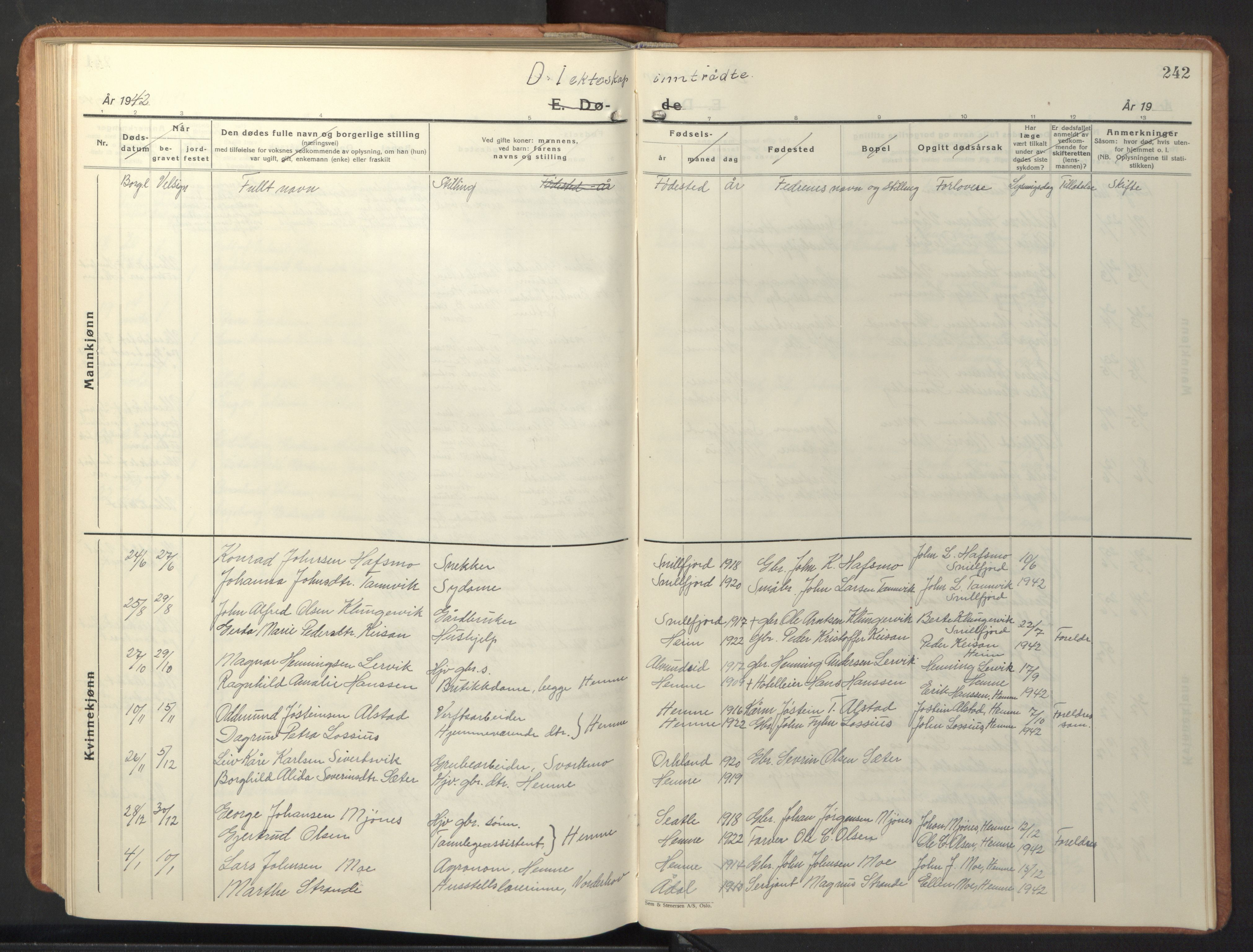 SAT, Ministerialprotokoller, klokkerbøker og fødselsregistre - Sør-Trøndelag, 630/L0508: Klokkerbok nr. 630C06, 1933-1950, s. 242