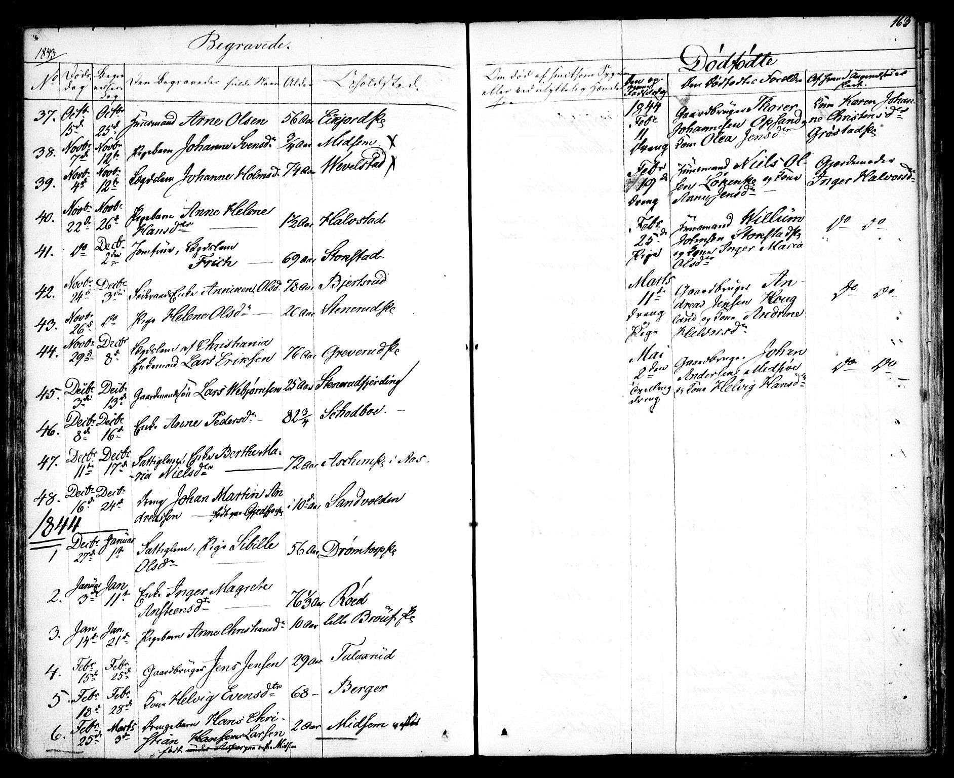 SAO, Kråkstad prestekontor Kirkebøker, F/Fa/L0005: Ministerialbok nr. I 5, 1837-1847, s. 163