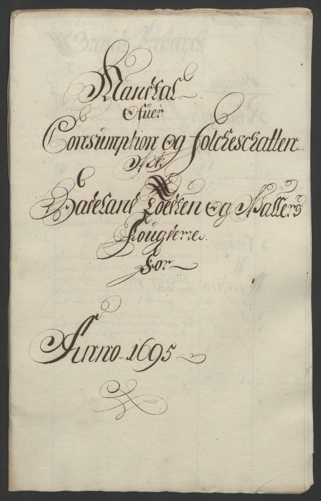 RA, Rentekammeret inntil 1814, Reviderte regnskaper, Fogderegnskap, R18/L1293: Fogderegnskap Hadeland, Toten og Valdres, 1695, s. 122