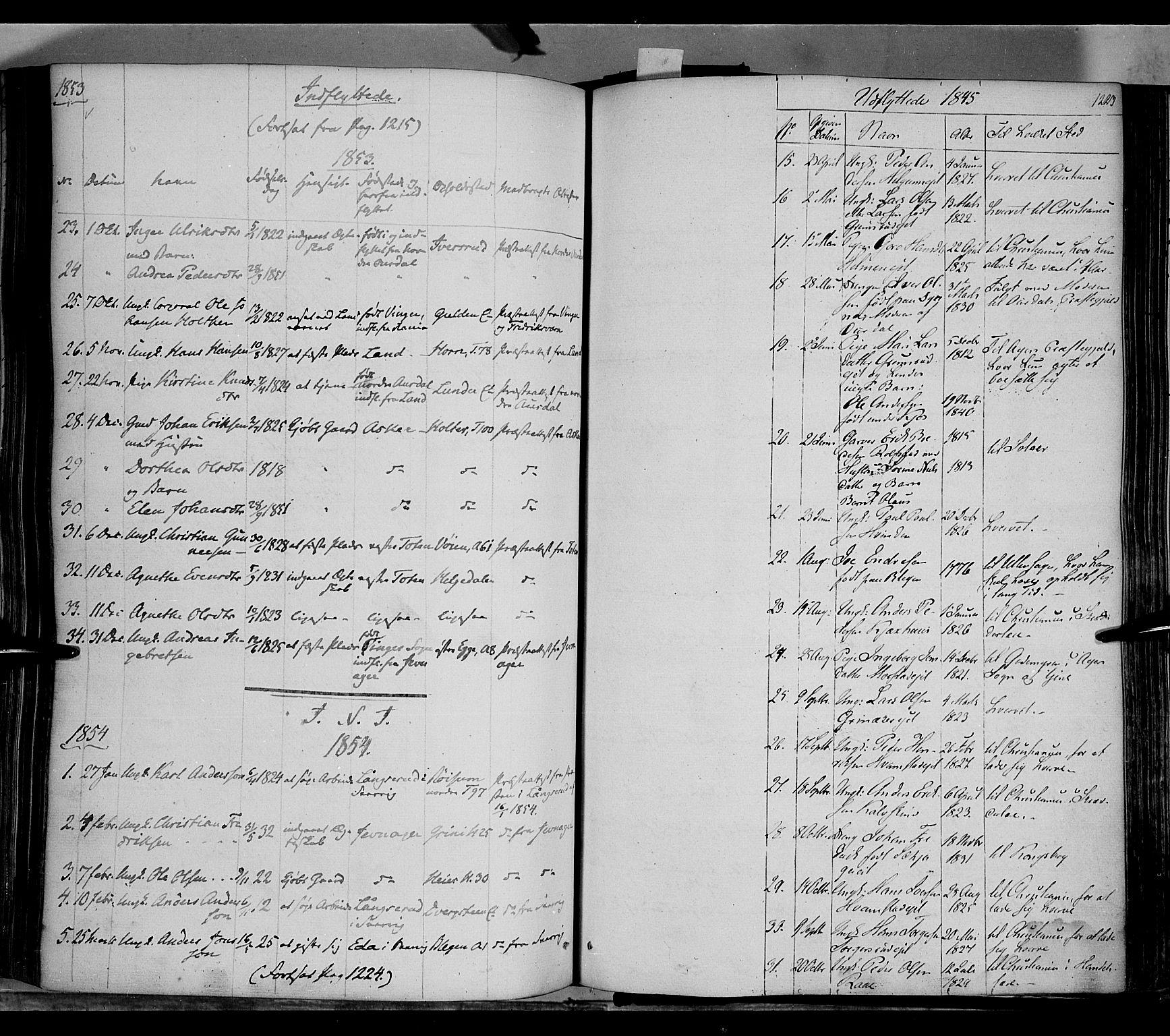 SAH, Gran prestekontor, Ministerialbok nr. 11, 1842-1856, s. 1222-1223