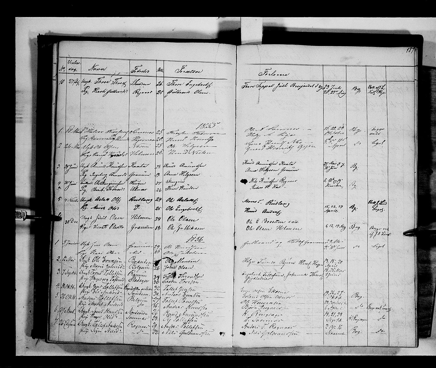 SAH, Nord-Aurdal prestekontor, Ministerialbok nr. 6, 1842-1863, s. 187