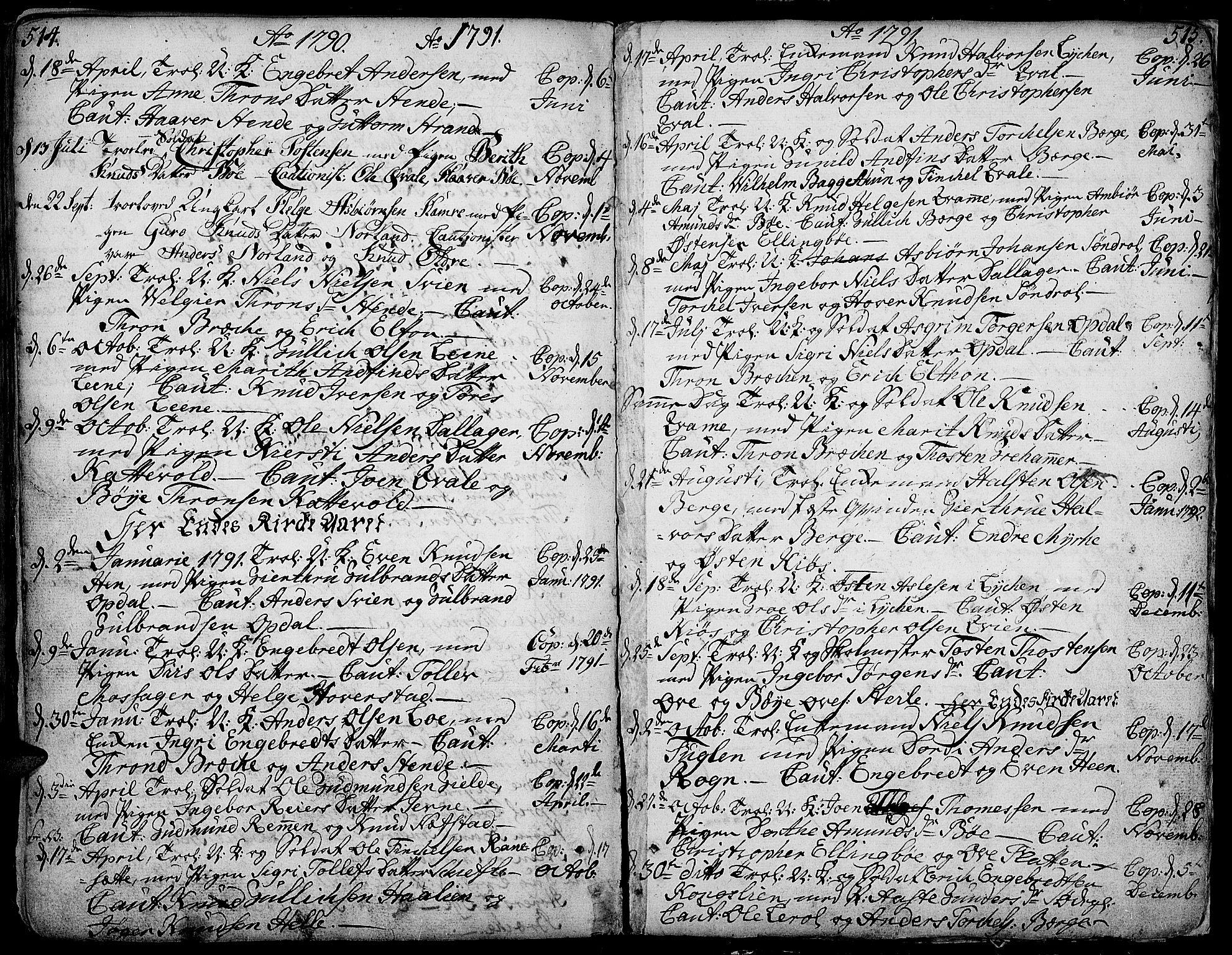 SAH, Vang prestekontor, Valdres, Ministerialbok nr. 1, 1730-1796, s. 514-515
