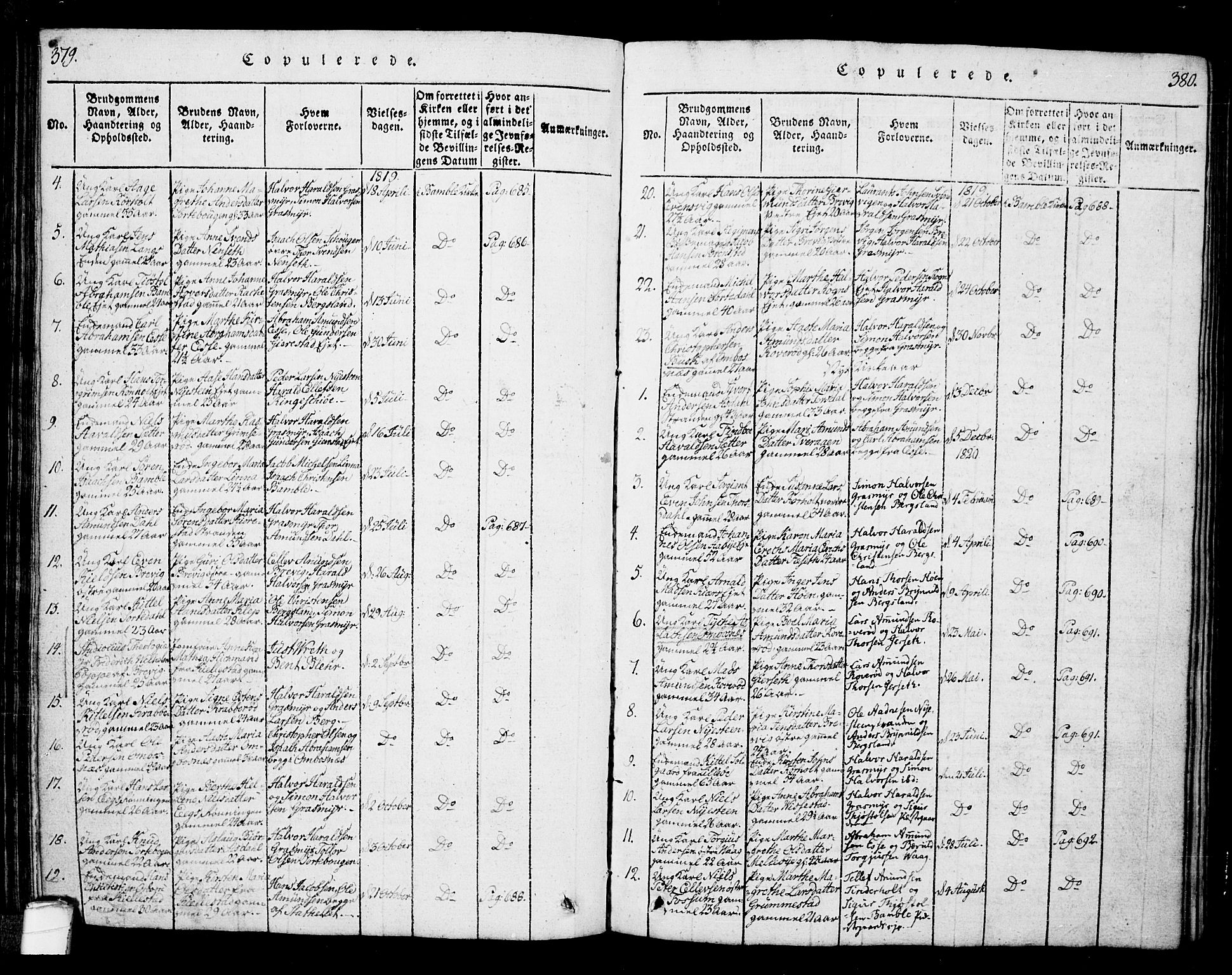 SAKO, Bamble kirkebøker, G/Ga/L0005: Klokkerbok nr. I 5, 1814-1855, s. 379-380