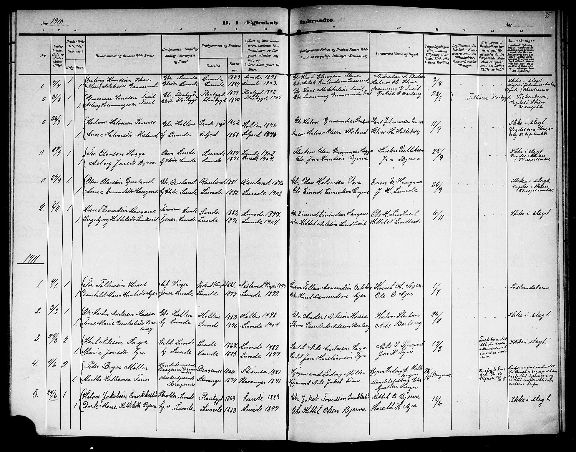 SAKO, Lunde kirkebøker, G/Ga/L0004: Klokkerbok nr. I 4, 1906-1914, s. 85
