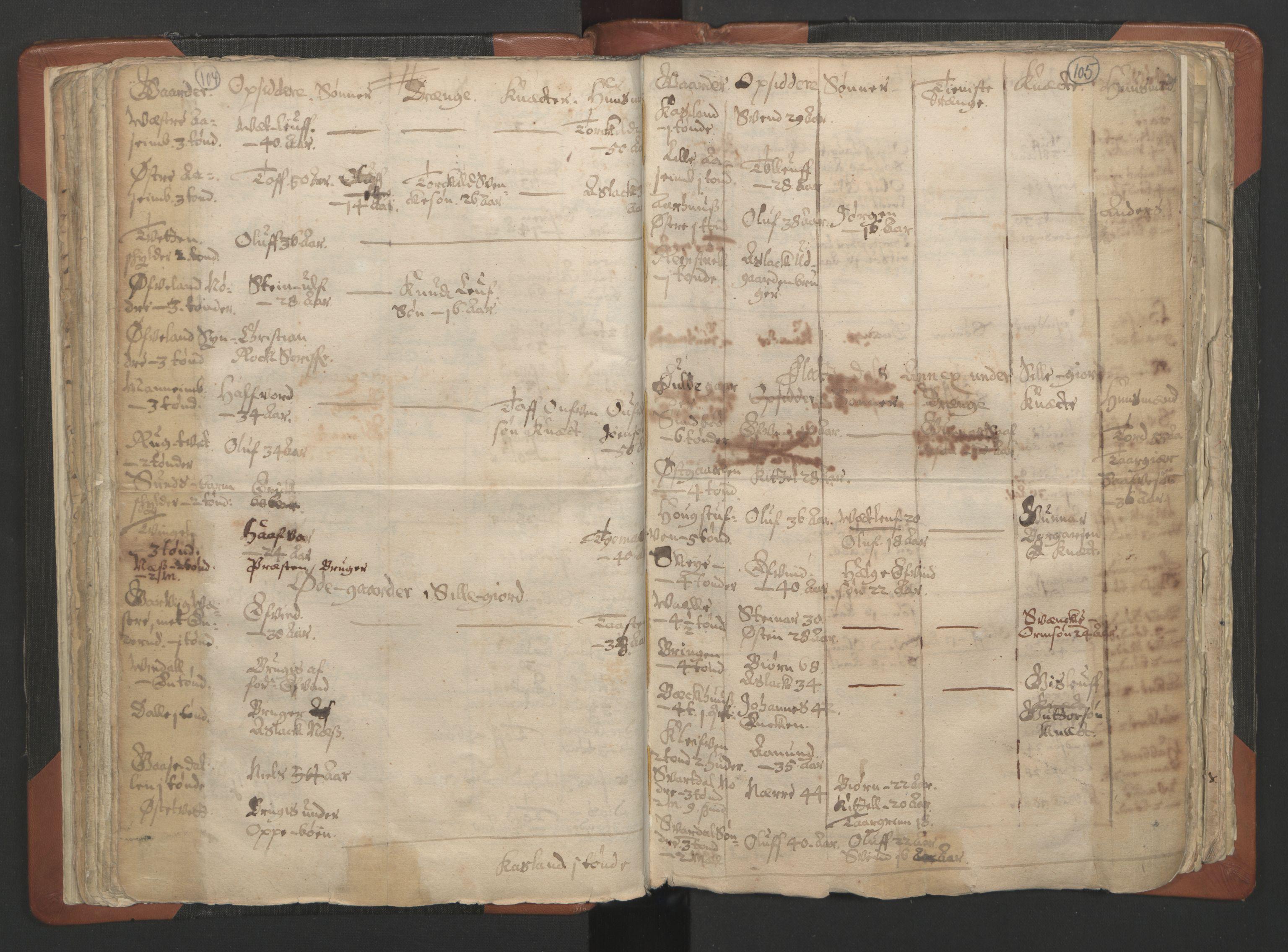 RA, Sogneprestenes manntall 1664-1666, nr. 12: Øvre Telemark prosti, Nedre Telemark prosti og Bamble prosti, 1664-1666, s. 104-105