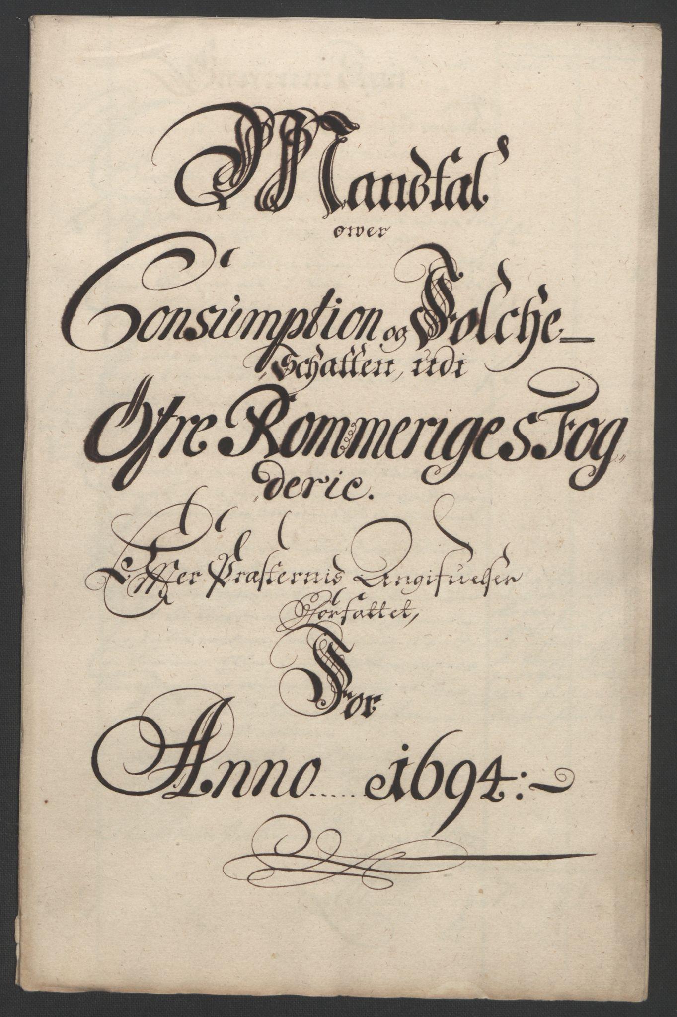 RA, Rentekammeret inntil 1814, Reviderte regnskaper, Fogderegnskap, R12/L0706: Fogderegnskap Øvre Romerike, 1694, s. 252