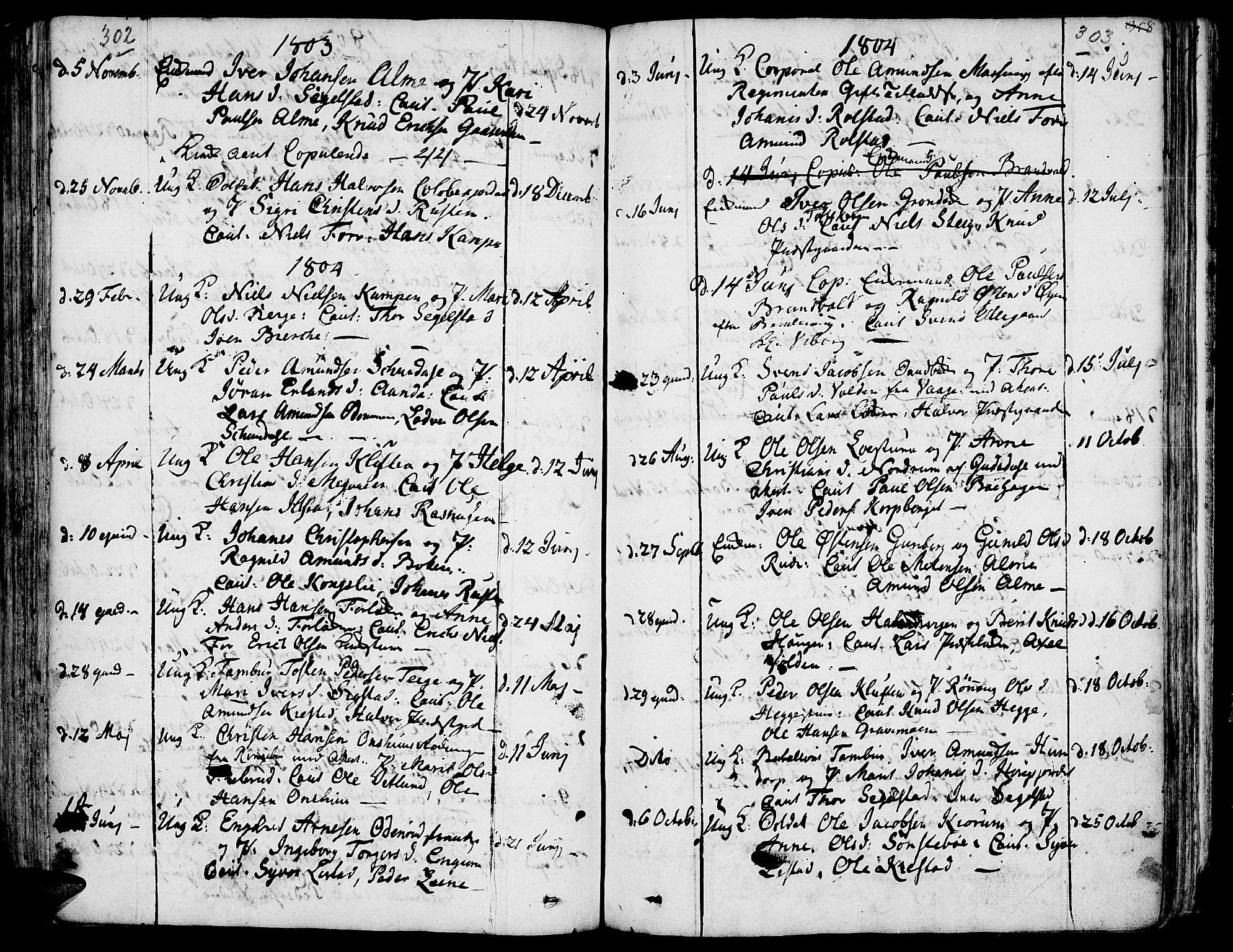 SAH, Fron prestekontor, H/Ha/Haa/L0001: Ministerialbok nr. 1, 1799-1816, s. 302-303