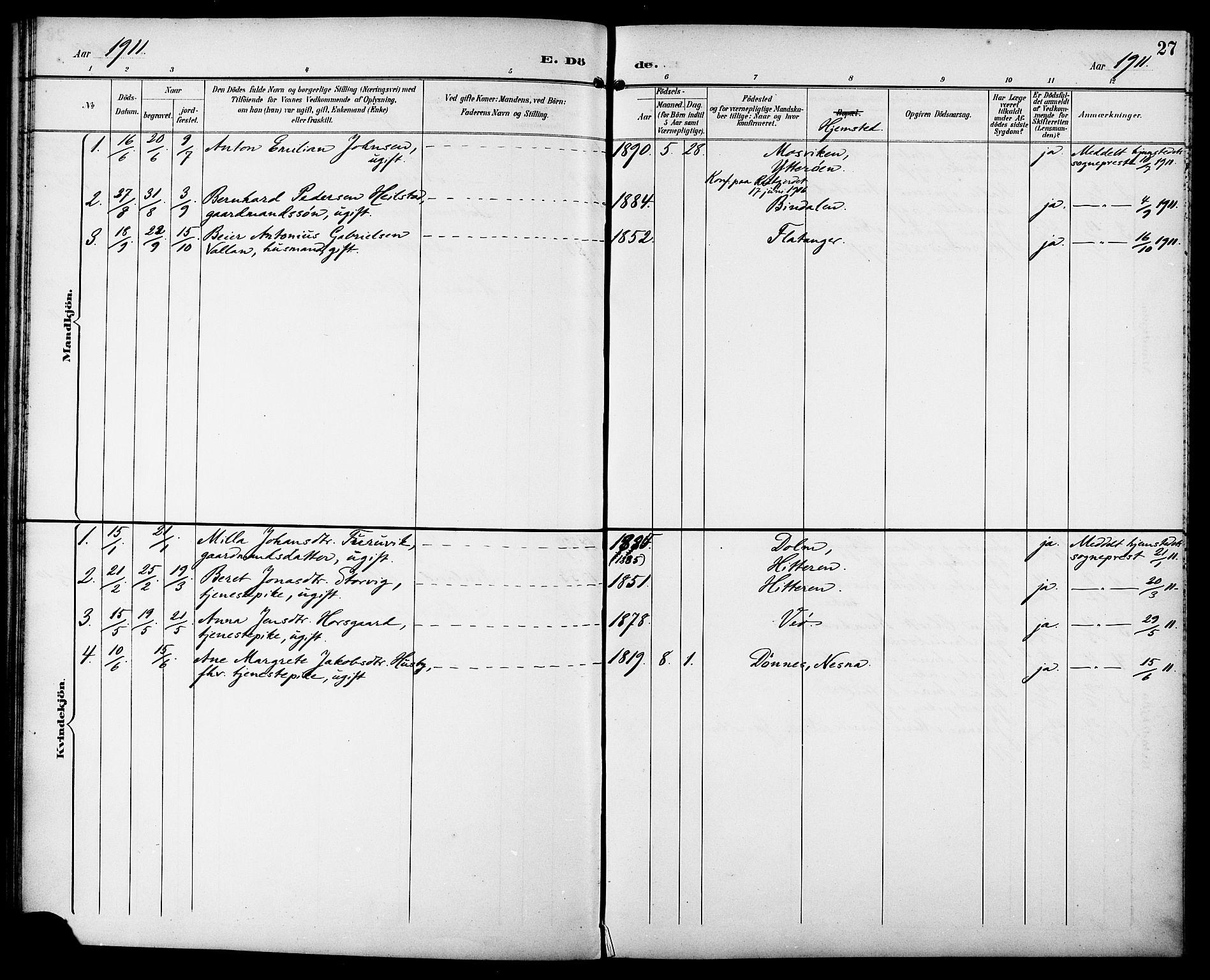 SAT, Ministerialprotokoller, klokkerbøker og fødselsregistre - Sør-Trøndelag, 629/L0486: Ministerialbok nr. 629A02, 1894-1919, s. 27