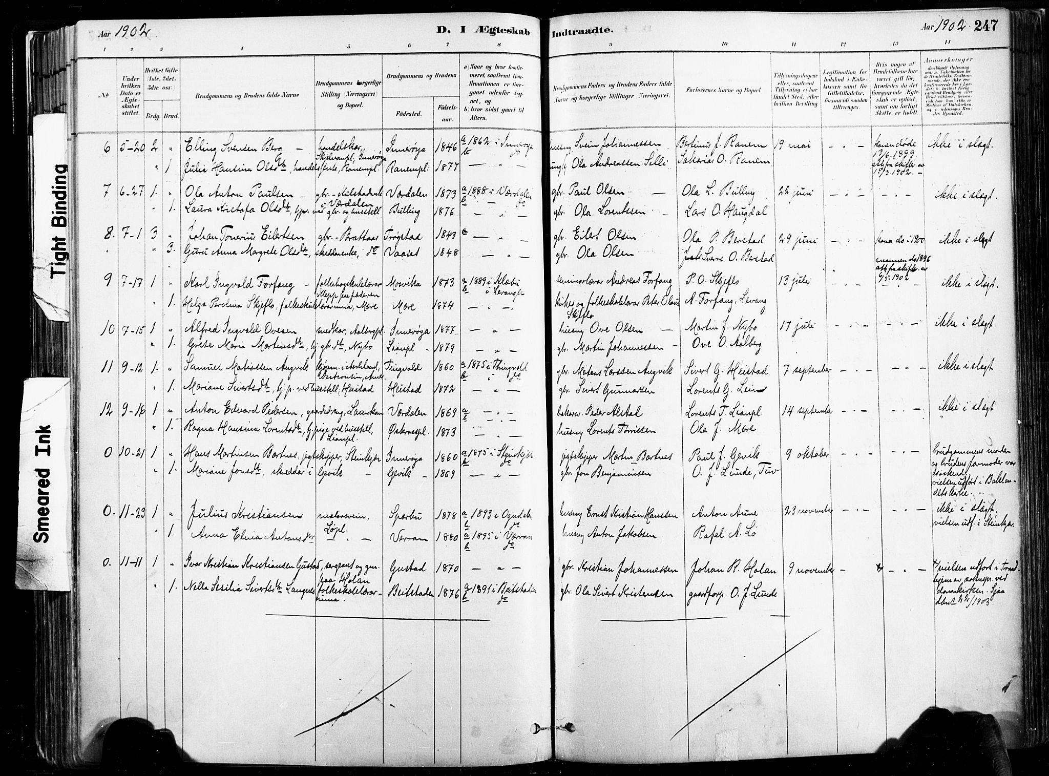 SAT, Ministerialprotokoller, klokkerbøker og fødselsregistre - Nord-Trøndelag, 735/L0351: Ministerialbok nr. 735A10, 1884-1908, s. 247