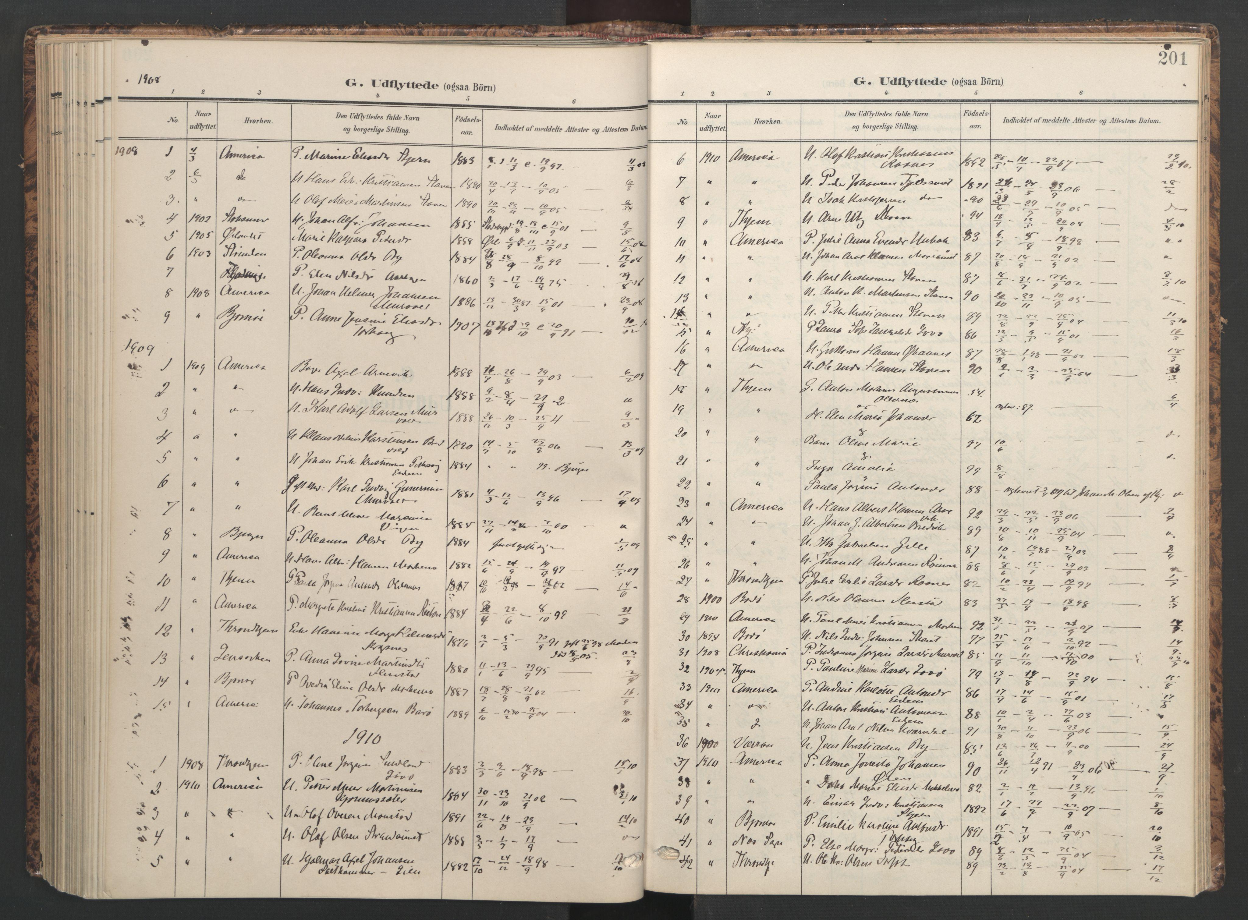 SAT, Ministerialprotokoller, klokkerbøker og fødselsregistre - Sør-Trøndelag, 655/L0682: Ministerialbok nr. 655A11, 1908-1922, s. 201