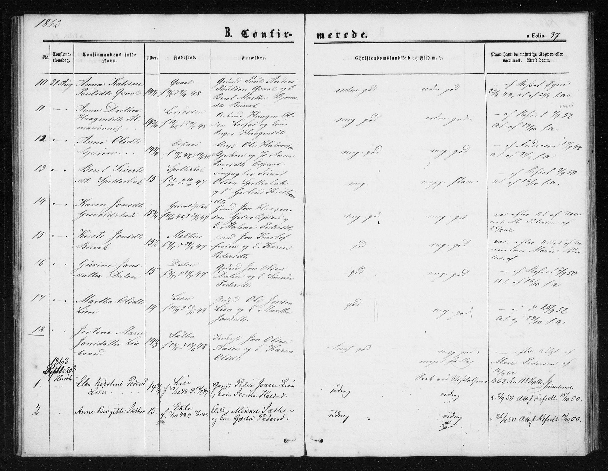 SAT, Ministerialprotokoller, klokkerbøker og fødselsregistre - Sør-Trøndelag, 608/L0333: Ministerialbok nr. 608A02, 1862-1876, s. 37