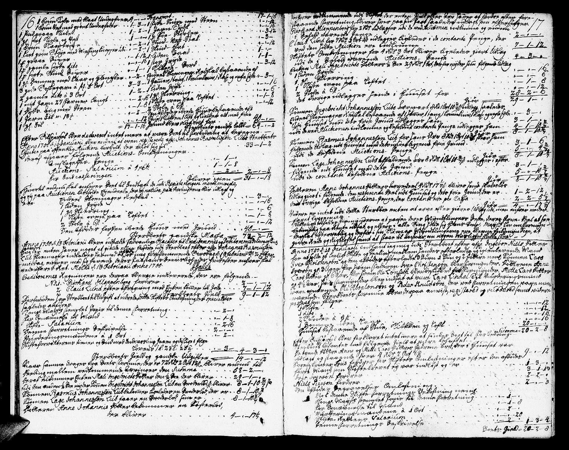 SAT, Molde byfogd, 3/3Aa/L0001: Skifteprotokoll, 1748-1768, s. 16-17