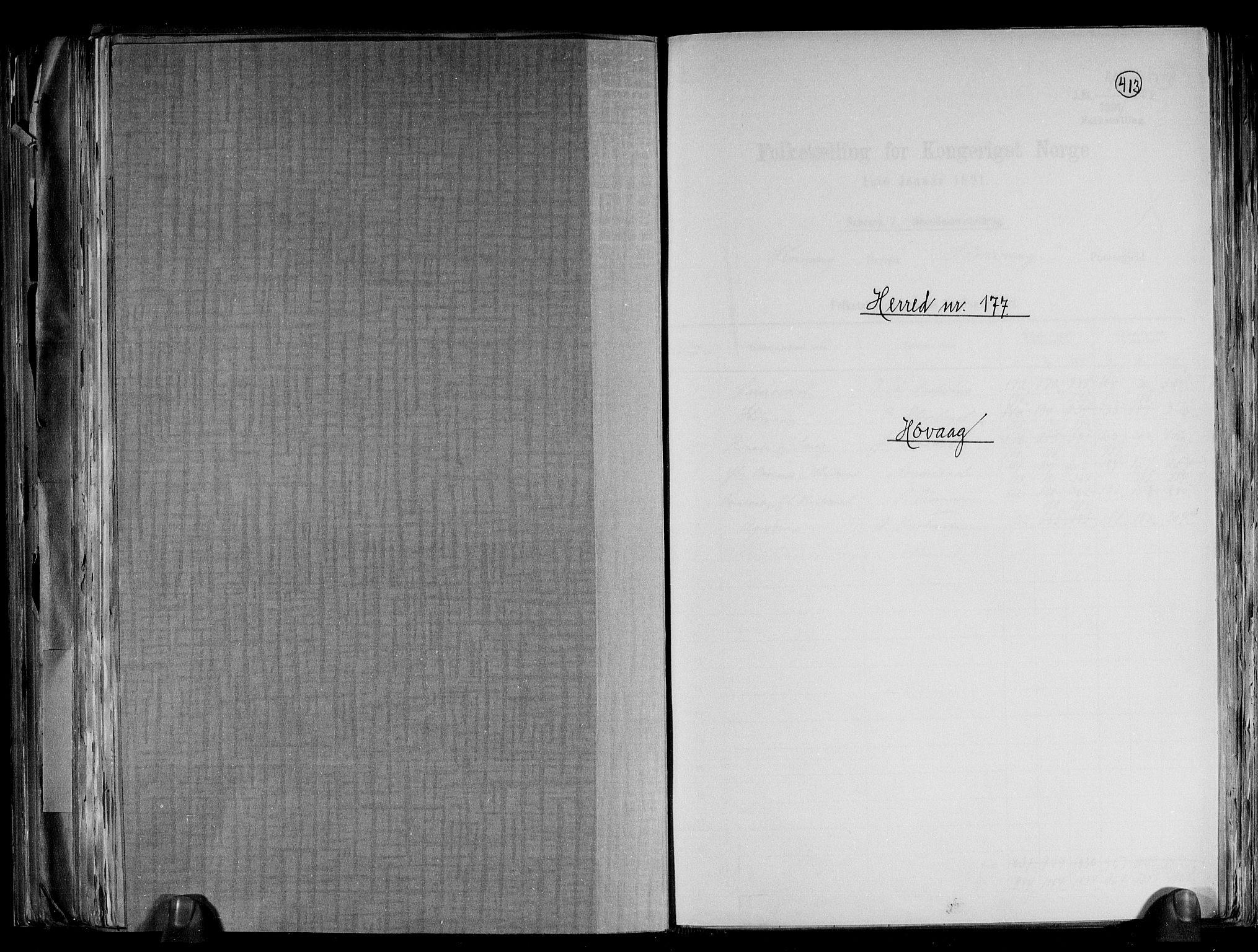 RA, Folketelling 1891 for 0927 Høvåg herred, 1891, s. 1