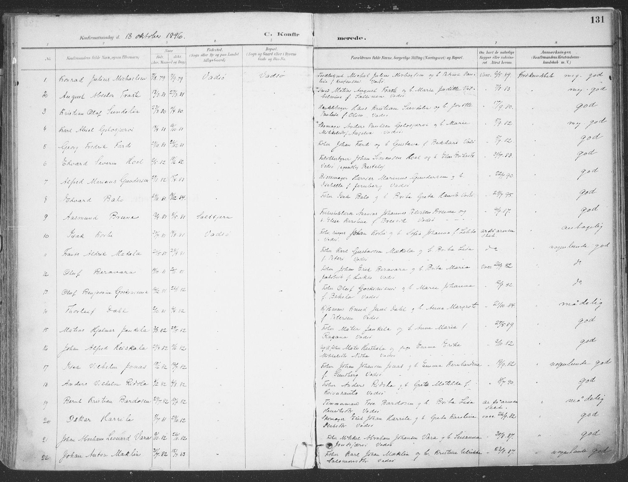 SATØ, Vadsø sokneprestkontor, H/Ha/L0007kirke: Ministerialbok nr. 7, 1896-1916, s. 131