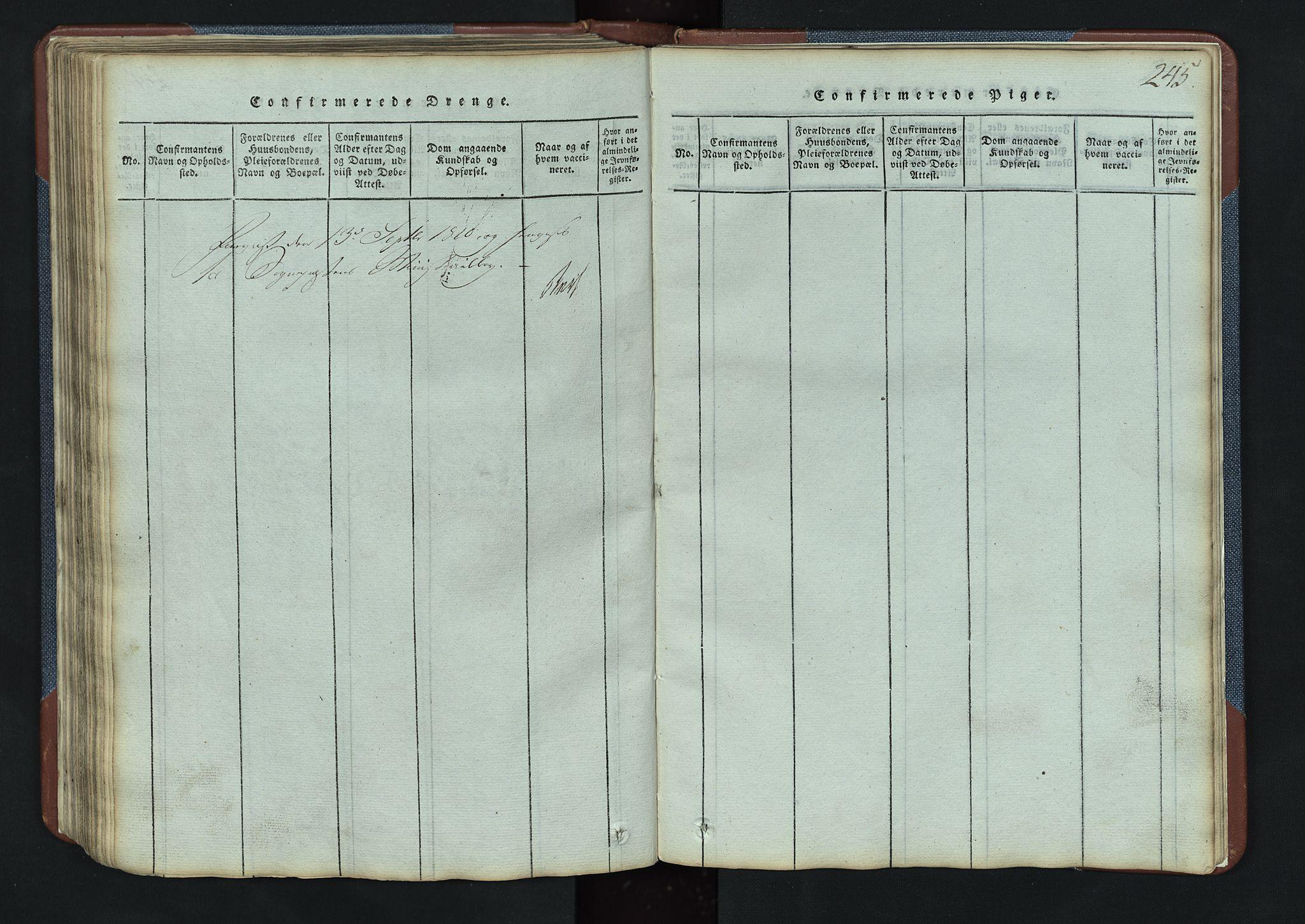 SAH, Vang prestekontor, Valdres, Klokkerbok nr. 3, 1814-1892, s. 245