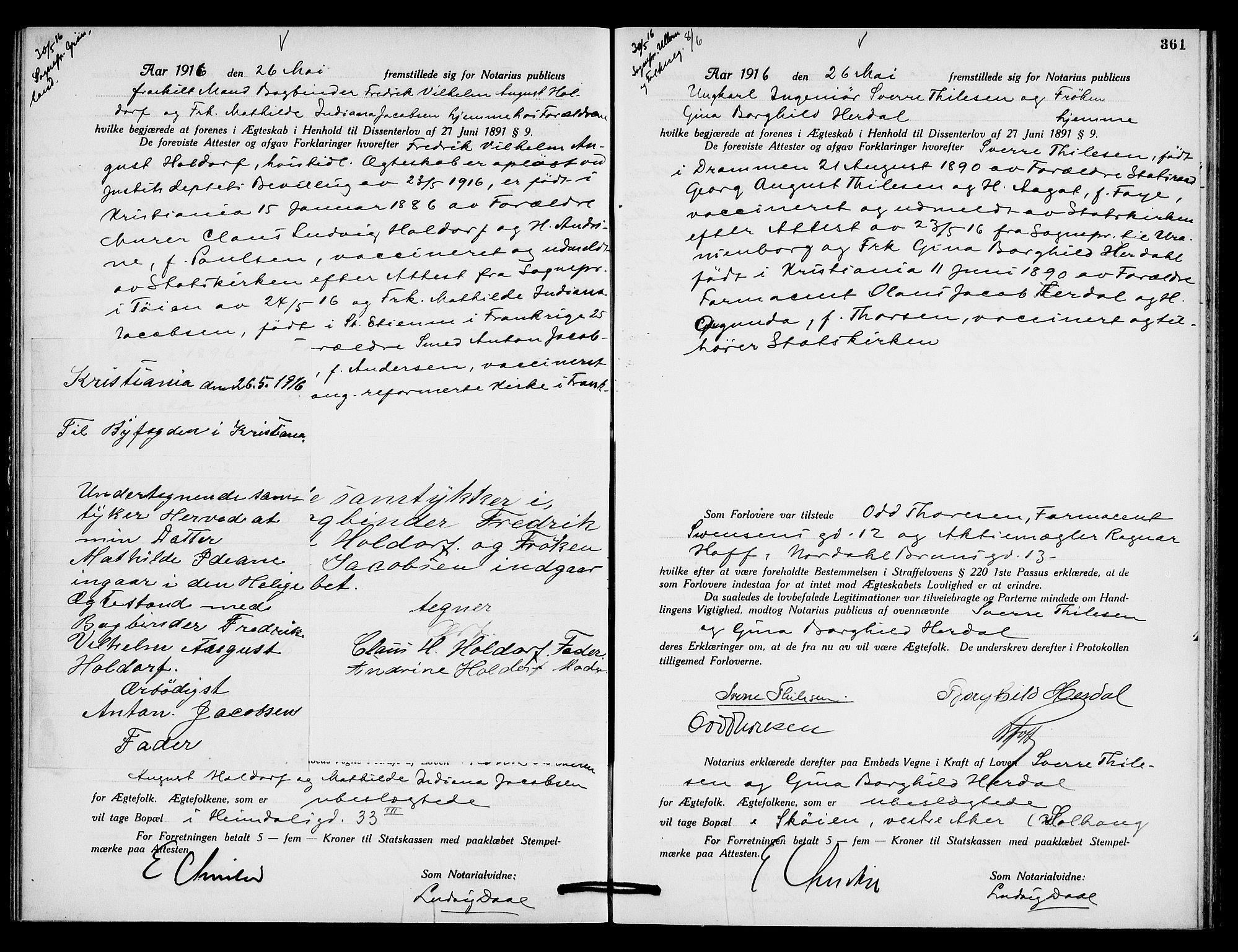 SAO, Oslo byfogd avd. I, L/Lb/Lbb/L0010: Notarialprotokoll, rekke II: Vigsler, 1914-1916, s. 460b-461a