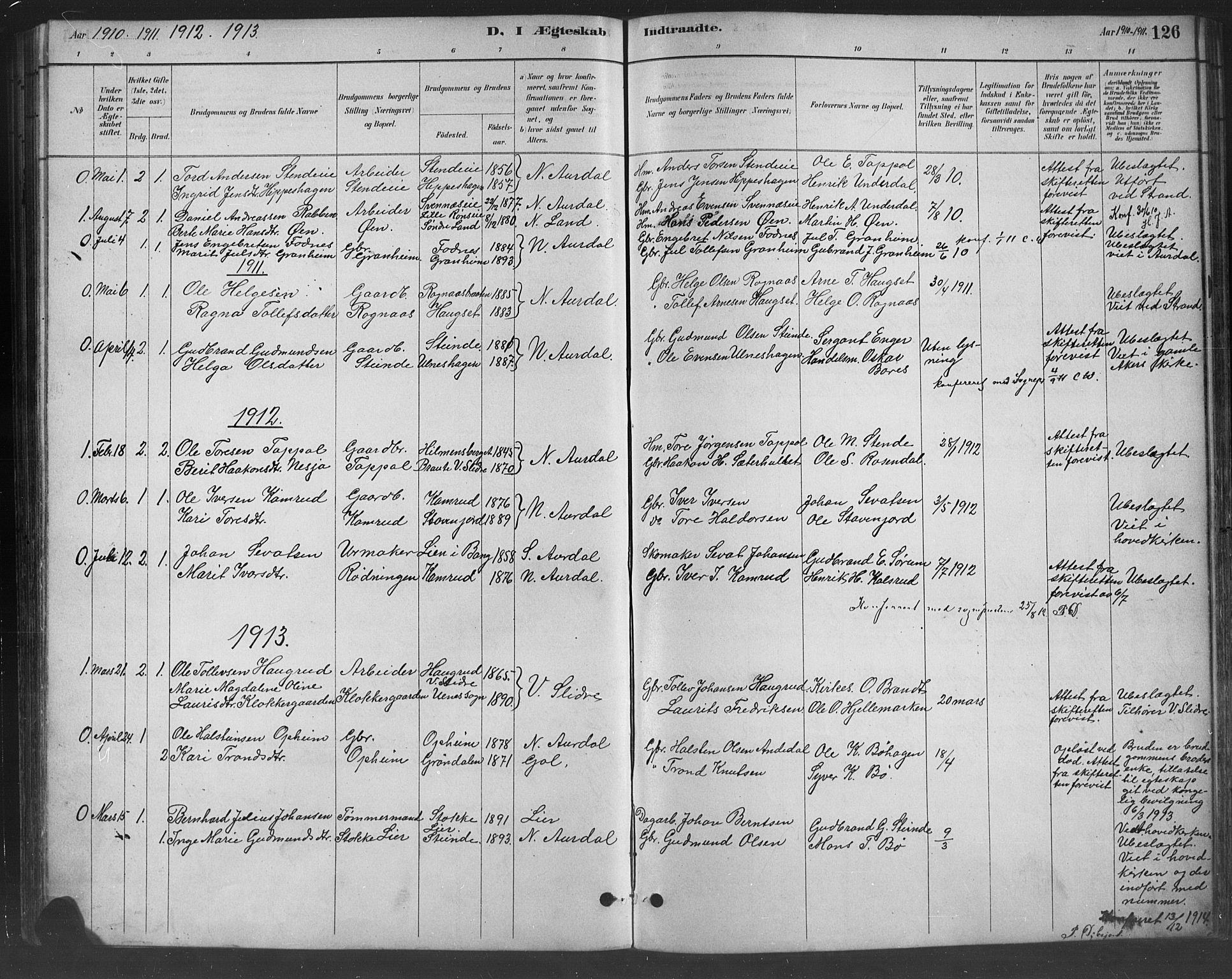 SAH, Nord-Aurdal prestekontor, Klokkerbok nr. 8, 1883-1916, s. 126