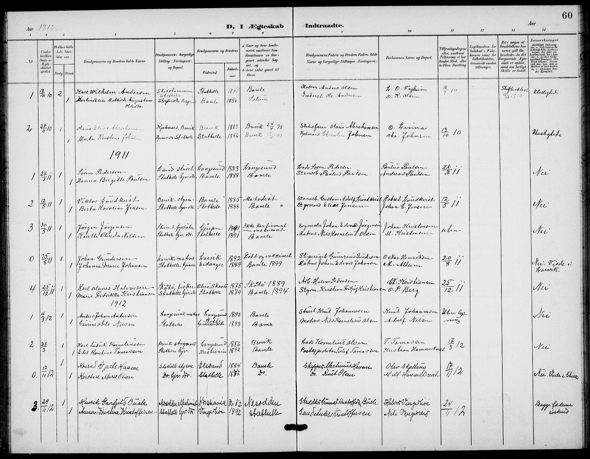SAKO, Bamble kirkebøker, G/Gb/L0002: Klokkerbok nr. II 2, 1900-1925, s. 60