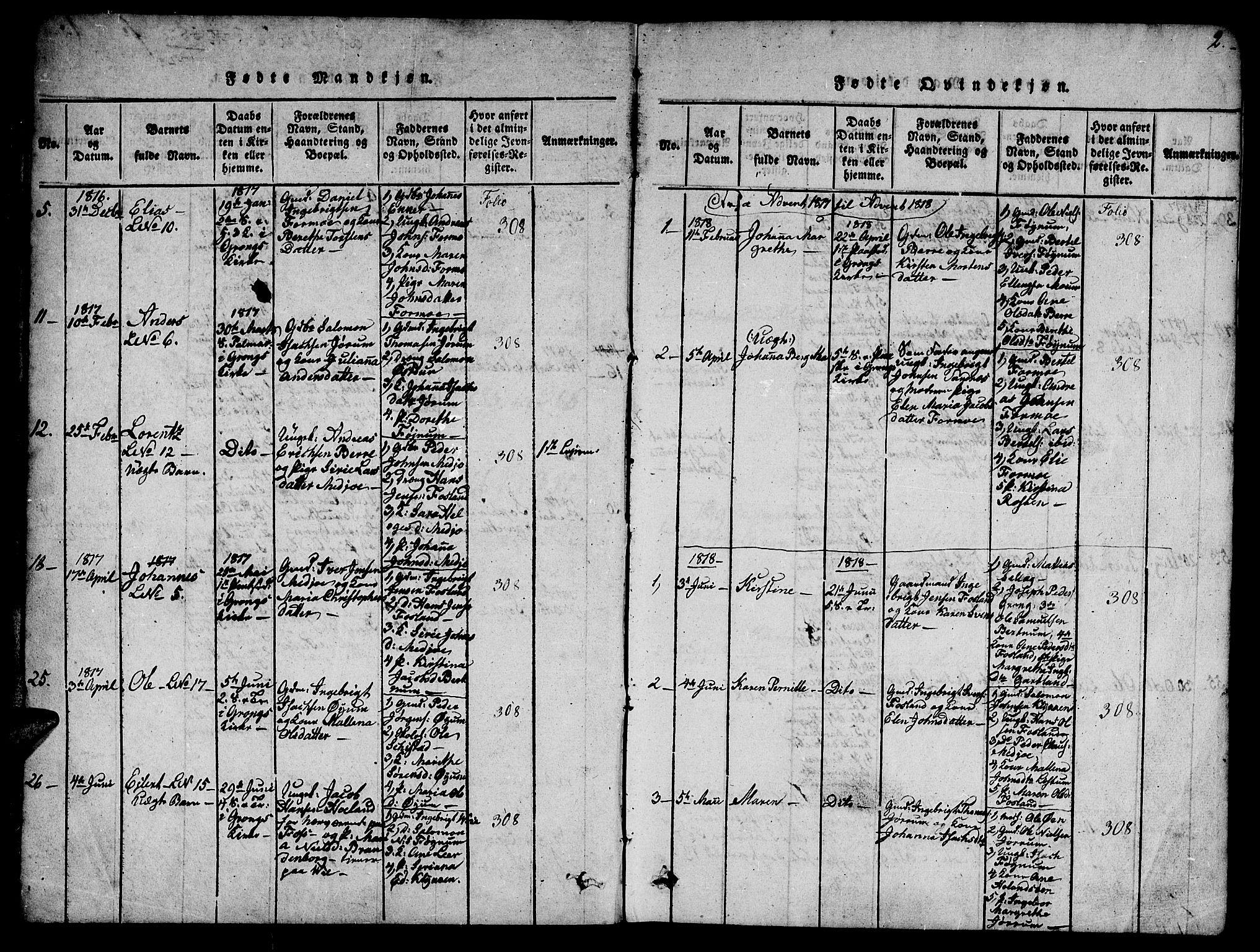 SAT, Ministerialprotokoller, klokkerbøker og fødselsregistre - Nord-Trøndelag, 758/L0521: Klokkerbok nr. 758C01, 1816-1825, s. 2