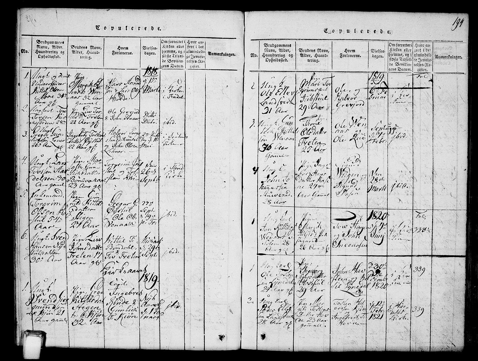 SAKO, Hjartdal kirkebøker, G/Gc/L0001: Klokkerbok nr. III 1, 1815-1842, s. 194