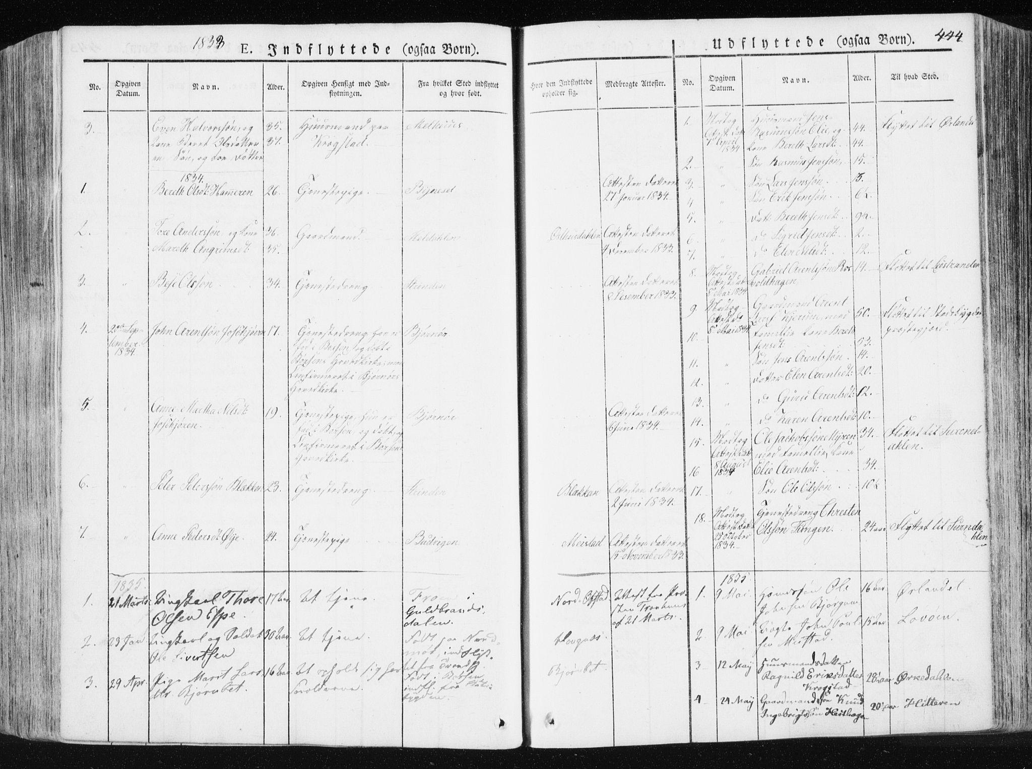 SAT, Ministerialprotokoller, klokkerbøker og fødselsregistre - Sør-Trøndelag, 665/L0771: Ministerialbok nr. 665A06, 1830-1856, s. 444
