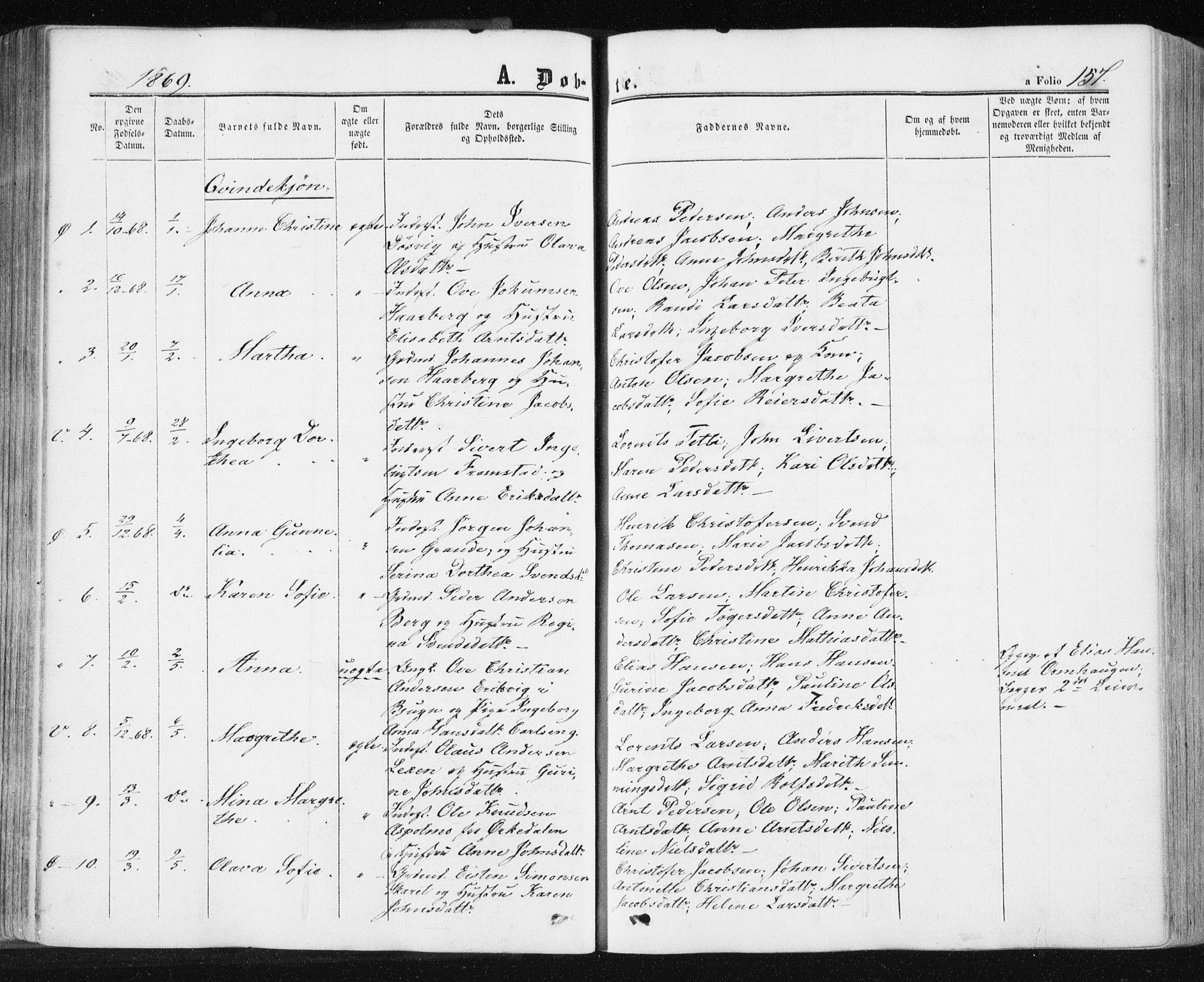 SAT, Ministerialprotokoller, klokkerbøker og fødselsregistre - Sør-Trøndelag, 659/L0737: Ministerialbok nr. 659A07, 1857-1875, s. 157