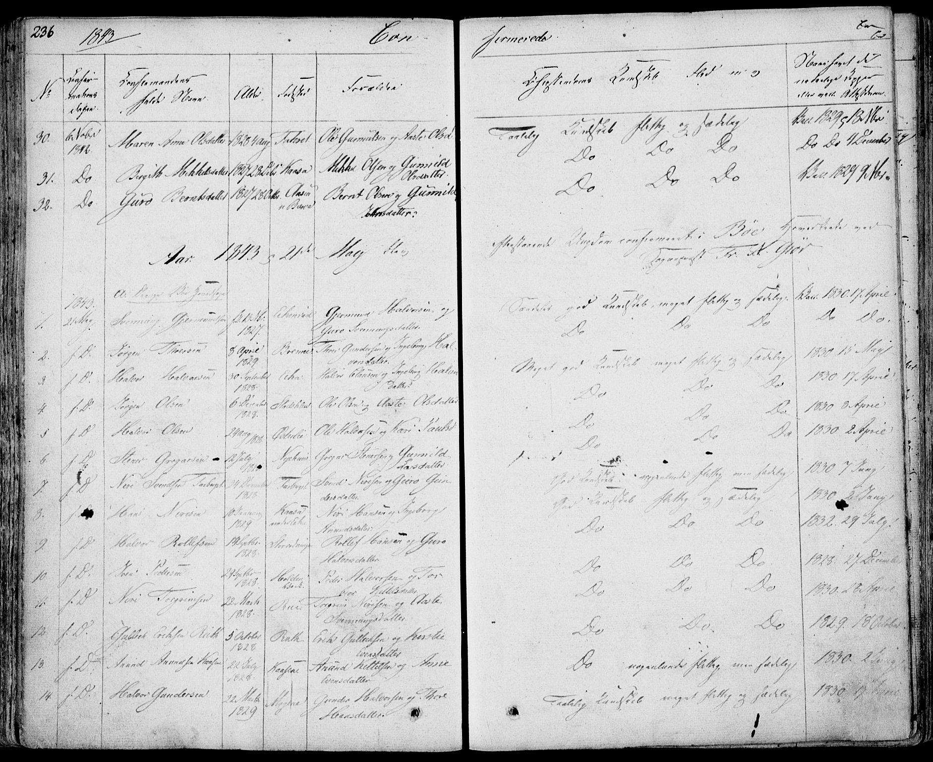 SAKO, Bø kirkebøker, F/Fa/L0007: Ministerialbok nr. 7, 1831-1848, s. 236