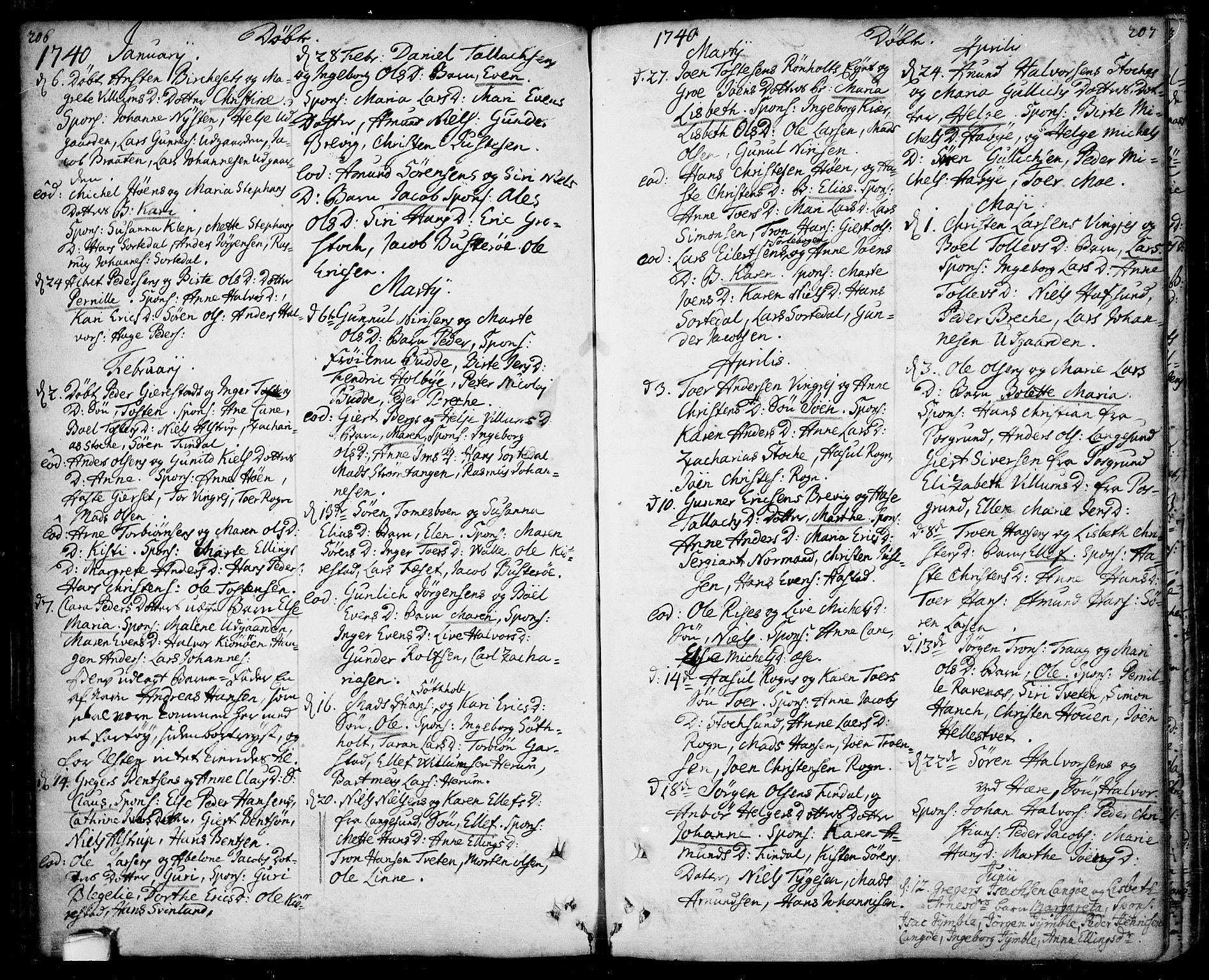 SAKO, Bamble kirkebøker, F/Fa/L0001: Ministerialbok nr. I 1, 1702-1774, s. 206-207