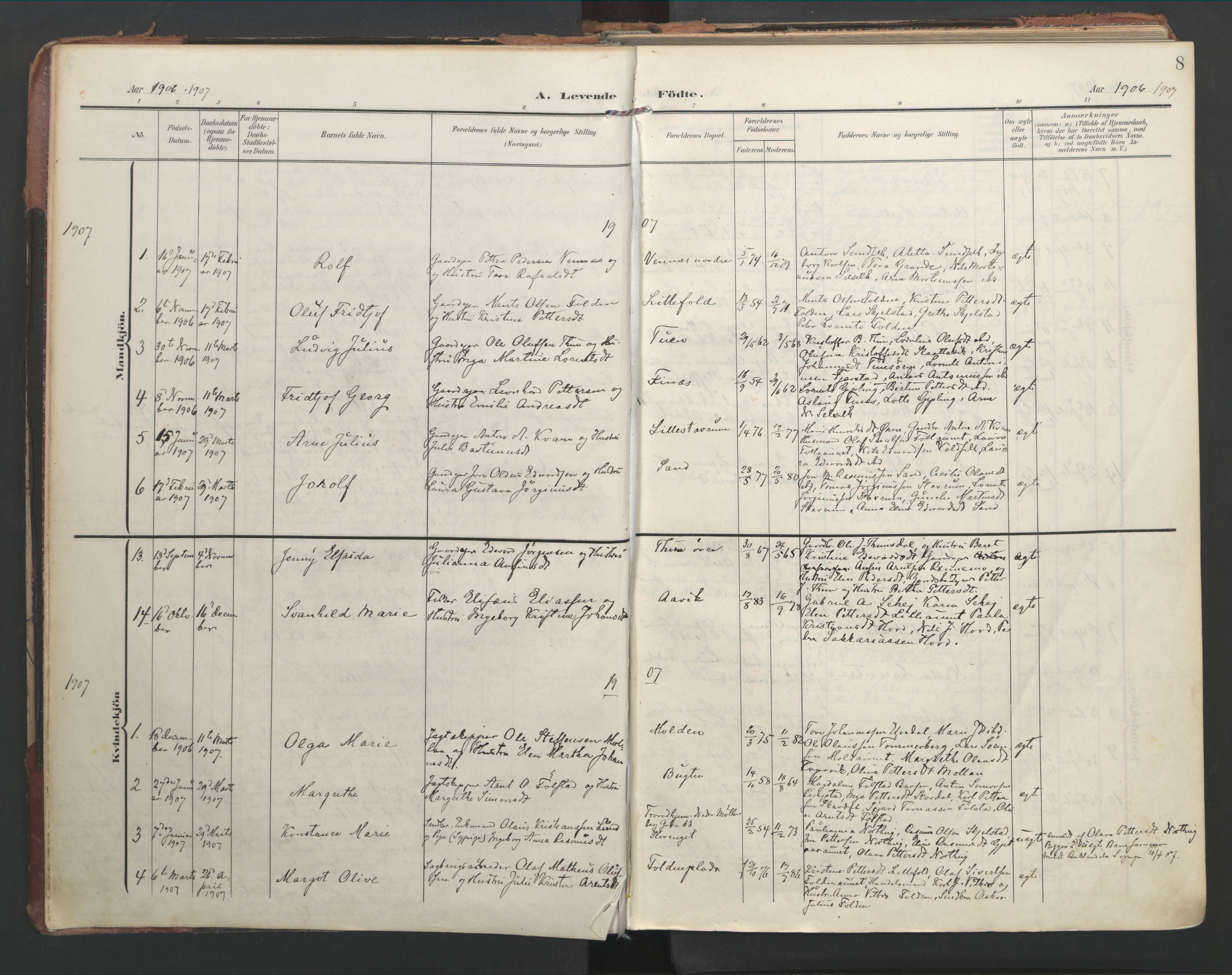 SAT, Ministerialprotokoller, klokkerbøker og fødselsregistre - Nord-Trøndelag, 744/L0421: Ministerialbok nr. 744A05, 1905-1930, s. 8