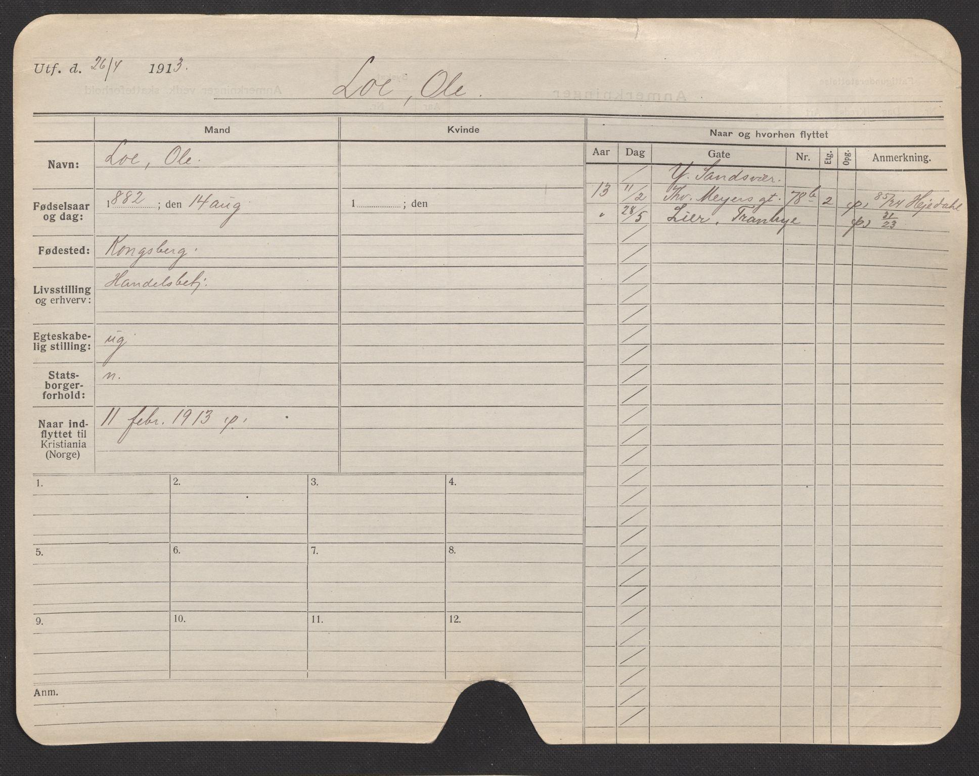 SAO, Oslo folkeregister, Registerkort, F/Fa/Fac/L0007: Menn, 1906-1914, s. 201a