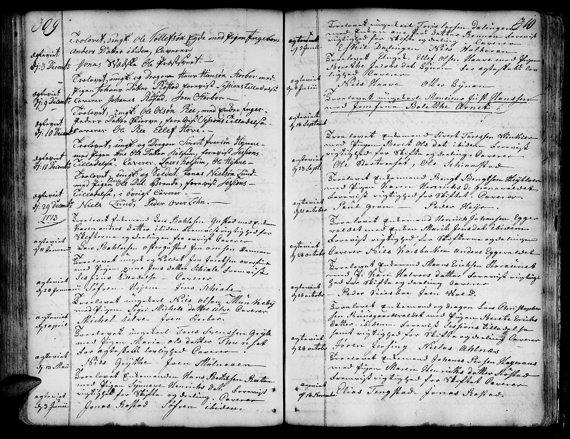 SAT, Ministerialprotokoller, klokkerbøker og fødselsregistre - Nord-Trøndelag, 717/L0141: Ministerialbok nr. 717A01, 1747-1803, s. 309-310