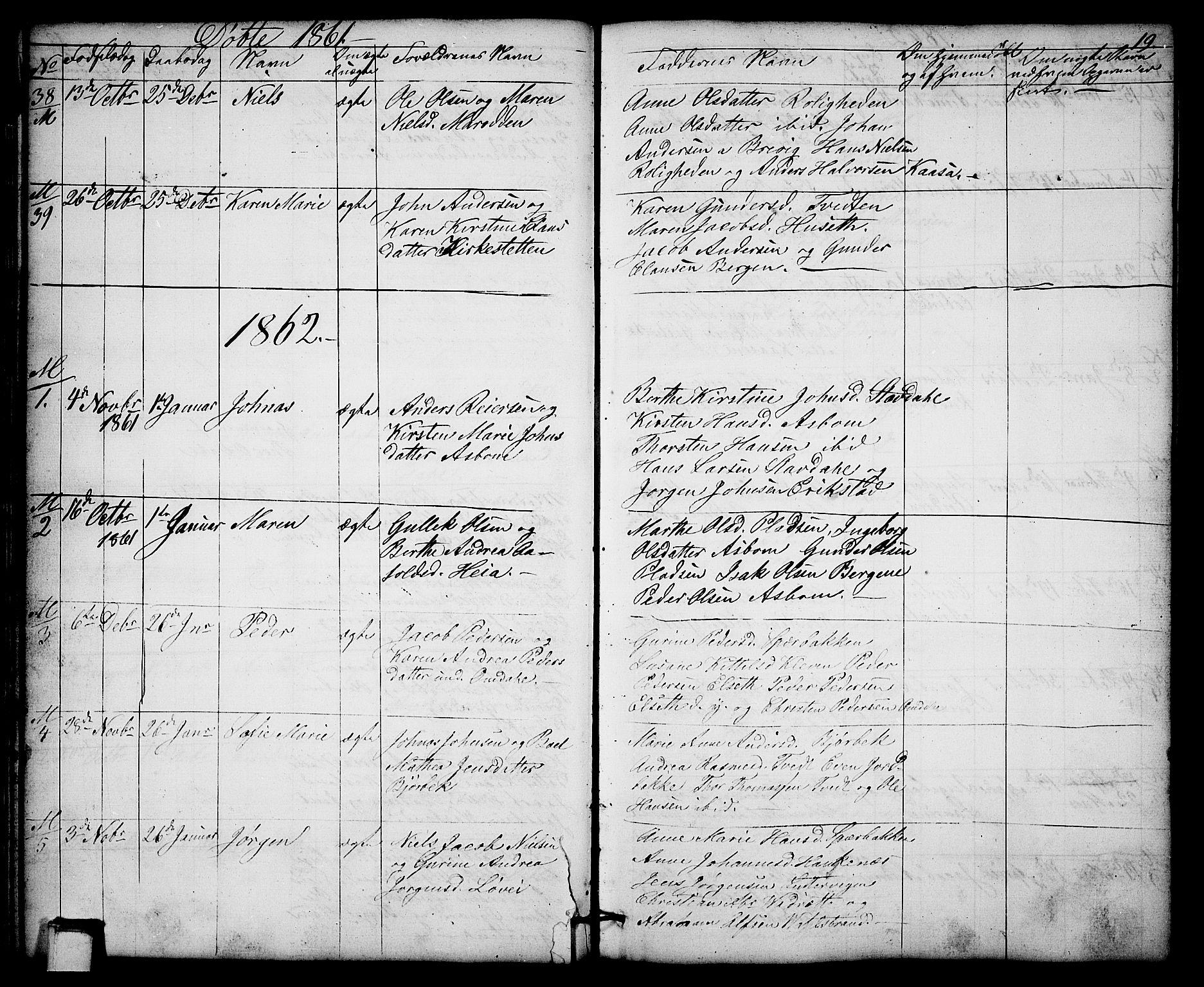 SAKO, Solum kirkebøker, G/Gb/L0002: Klokkerbok nr. II 2, 1859-1879, s. 19