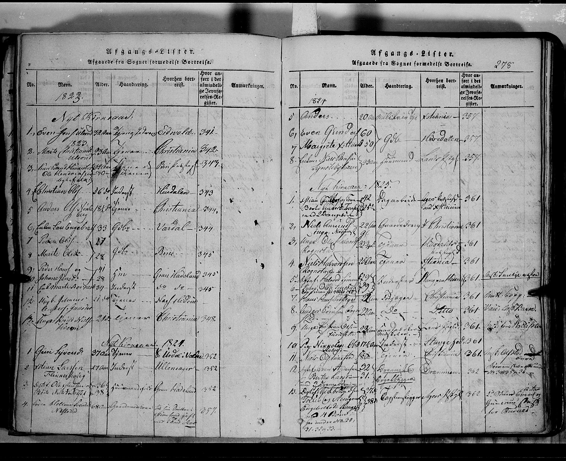 SAH, Toten prestekontor, Klokkerbok nr. 2, 1820-1827, s. 278
