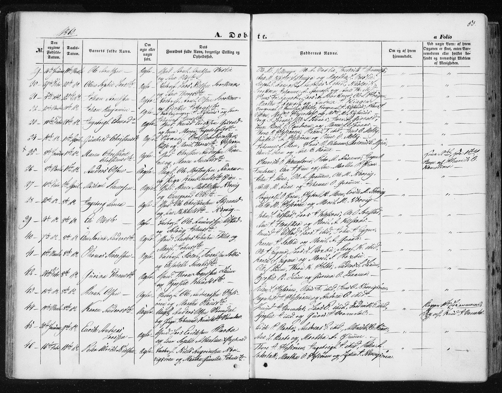SAT, Ministerialprotokoller, klokkerbøker og fødselsregistre - Sør-Trøndelag, 668/L0806: Ministerialbok nr. 668A06, 1854-1869, s. 53