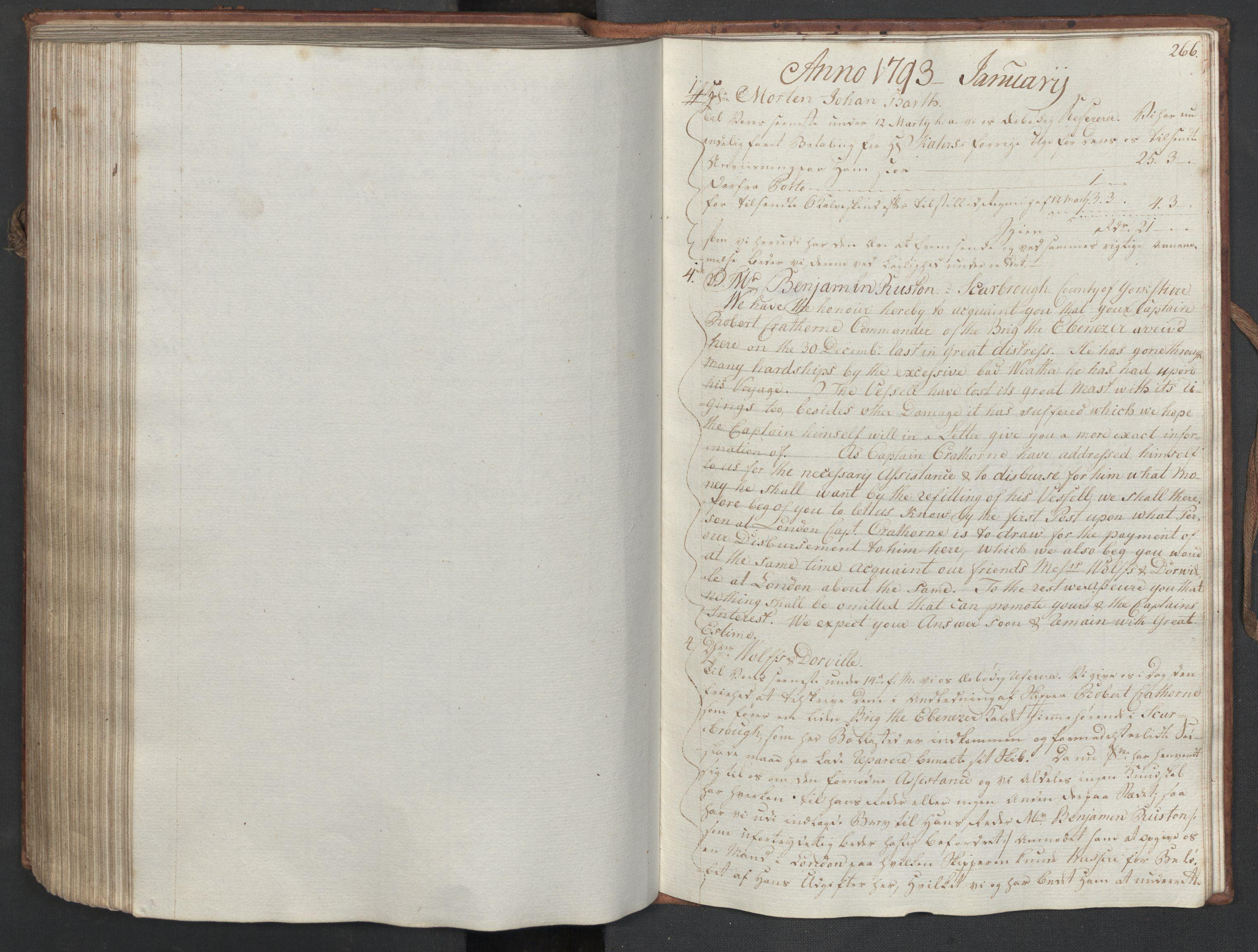 SAST, Pa 0003 - Ploug & Sundt, handelshuset, B/L0006: Kopibok, 1788-1793, s. 265b-266a